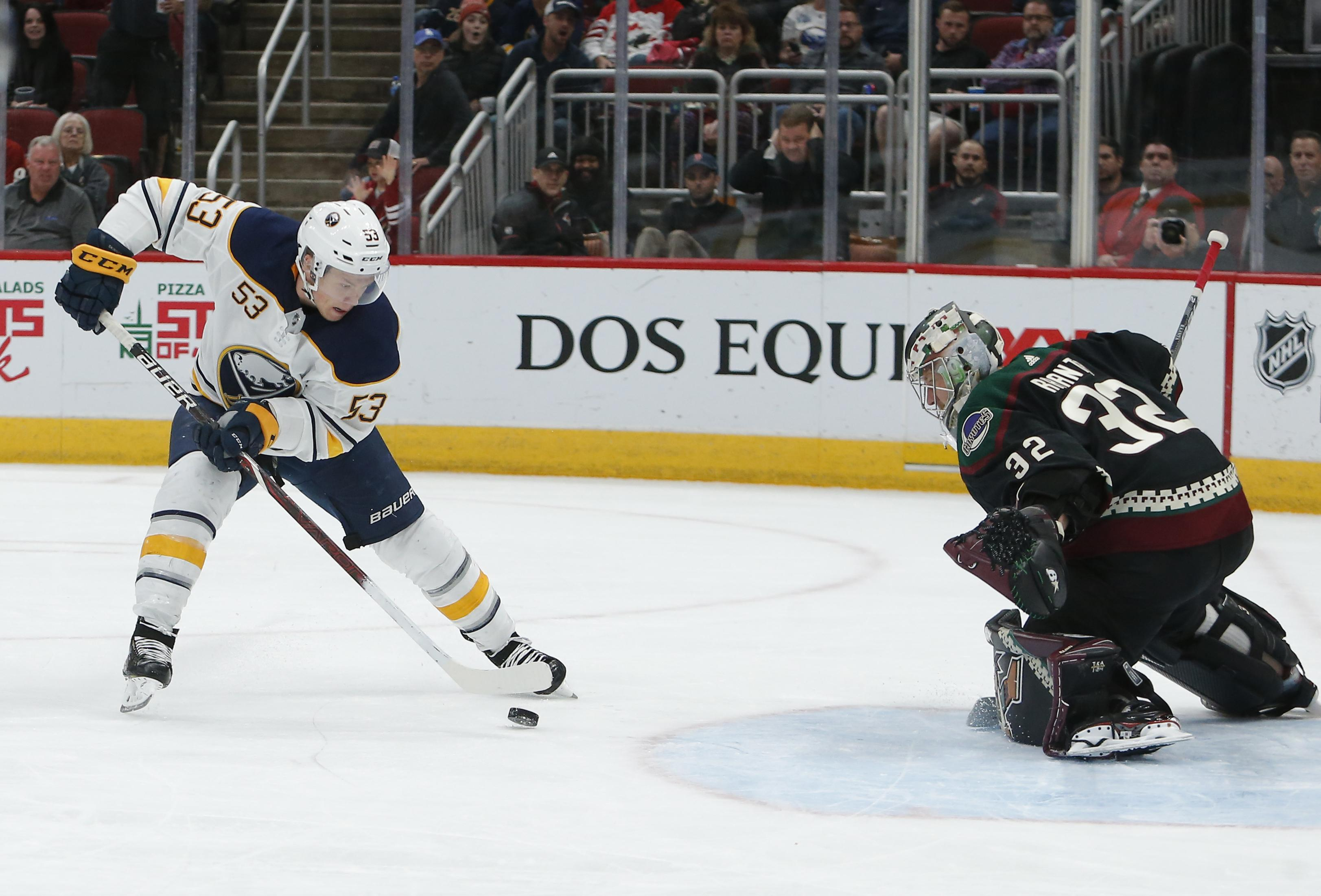 36dc8b2f8 Buffalo Sabres center Jeff Skinner moves in for a shot on Arizona Coyotes  goaltender Antti Raanta