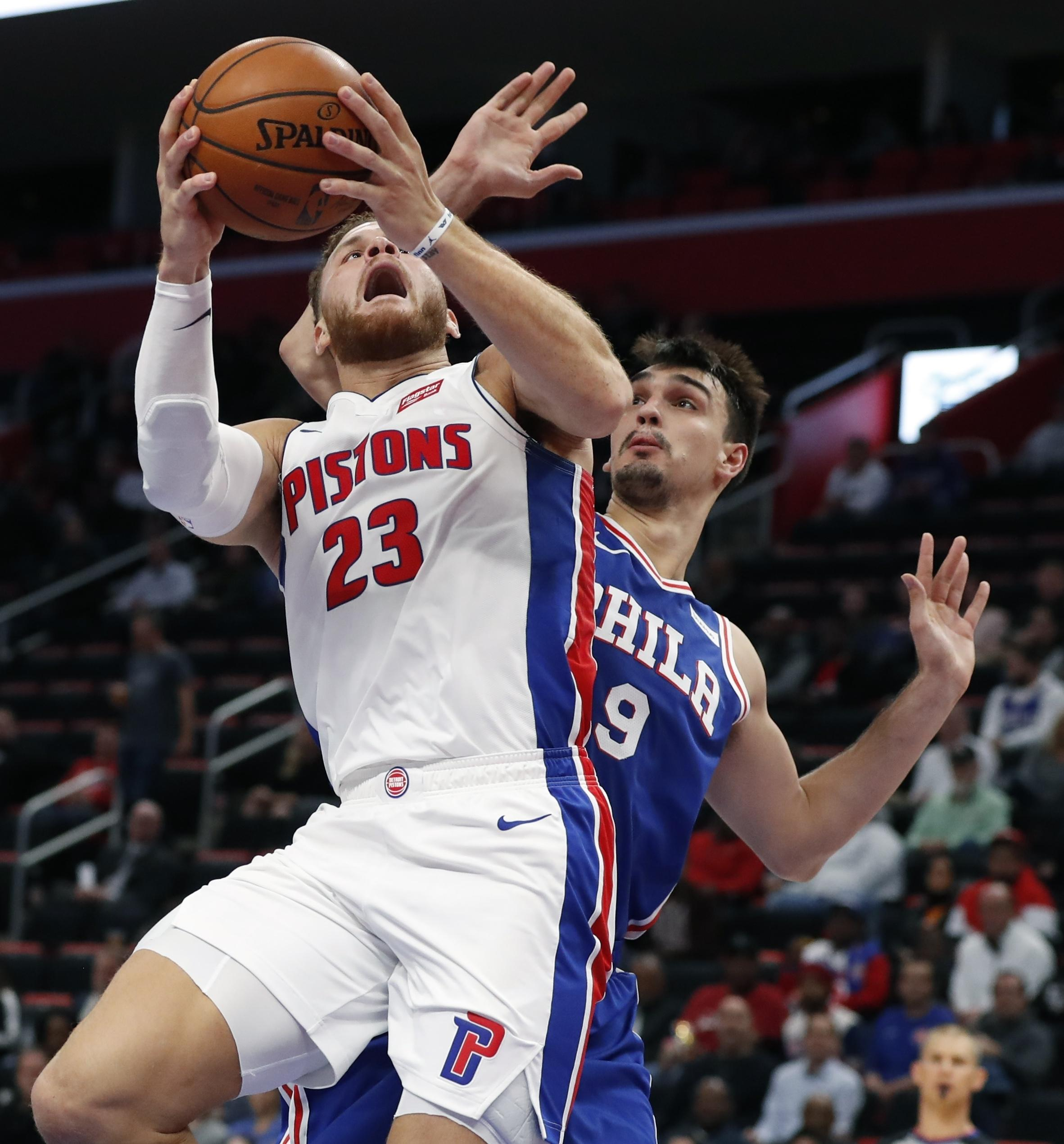 f8d010ca465e Detroit Pistons forward Blake Griffin (23) shoots as Philadelphia 76ers  forward Dario Saric (