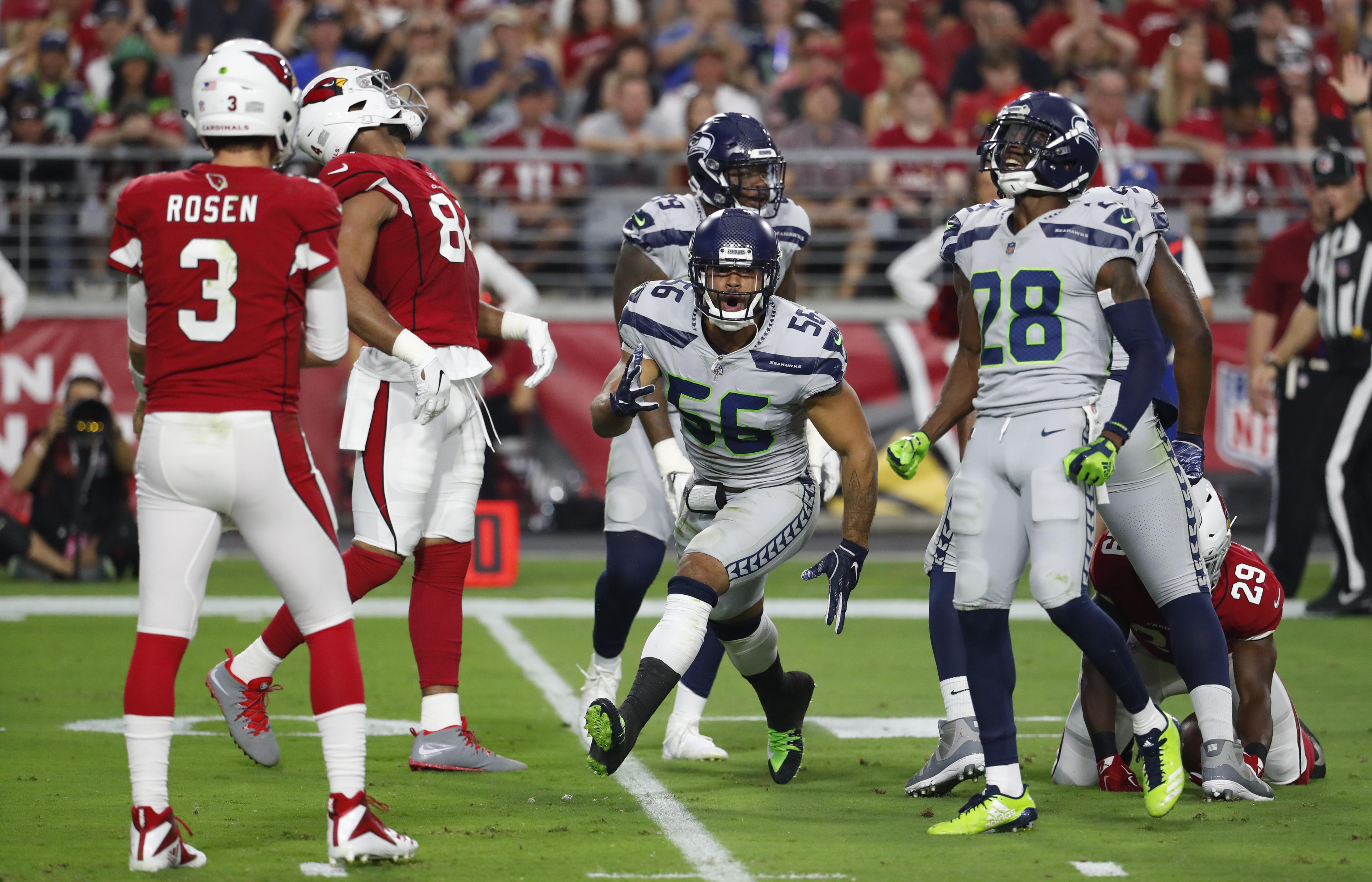 6bdf31203 Seattle Seahawks linebacker Mychal Kendricks (56) during an NFL football  game against the Arizona