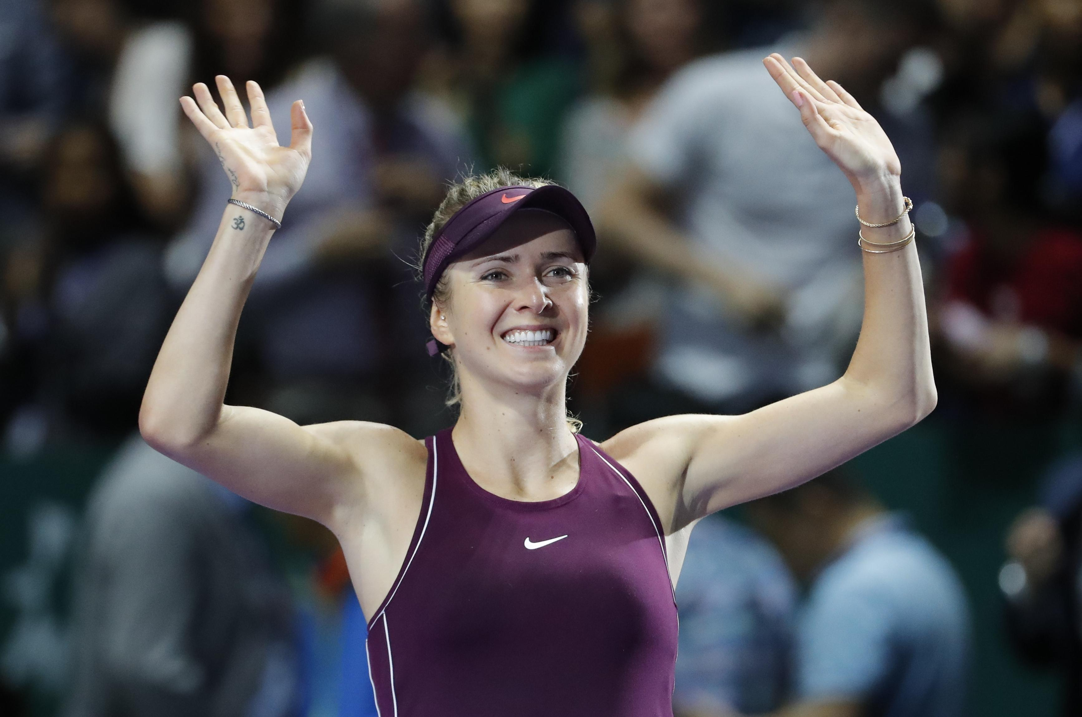 Elina Svitolina of the Ukraine celebrates after defeating Sloane Stephens  of the United States during the cb659543583