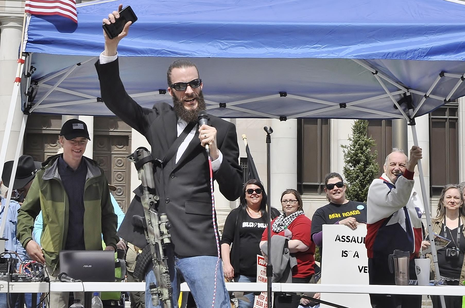 Jered Bonneau, then a congressional candidate, addresses a gun-rights rally  in April