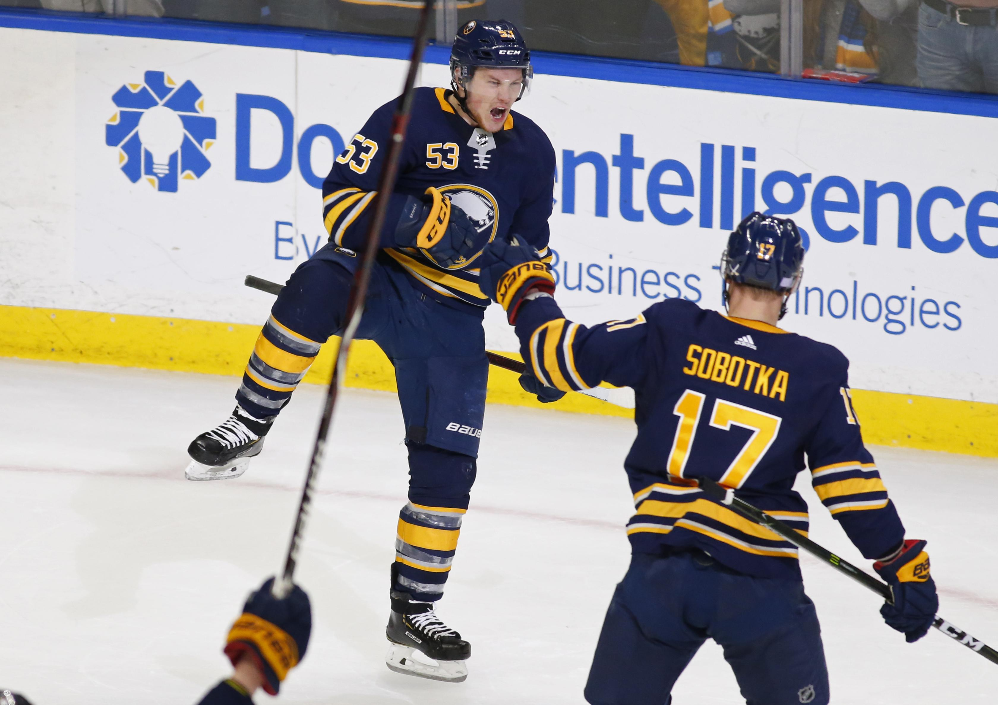 4294762de Buffalo Sabres forward Jeff Skinner celebrates his game-winning goal in  overtime against the San