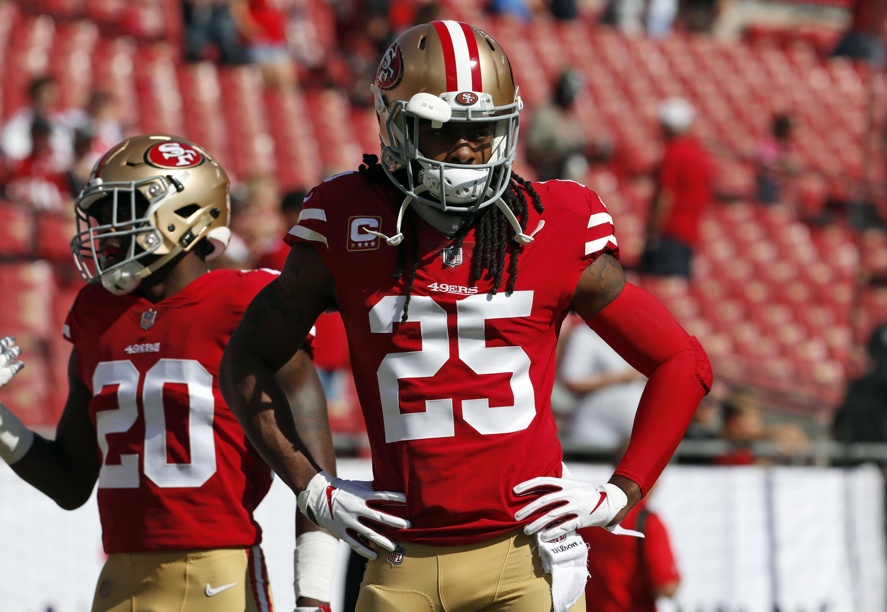 2b2a0d152 San Francisco 49ers cornerback Richard Sherman (25) warms up before an NFL  game last