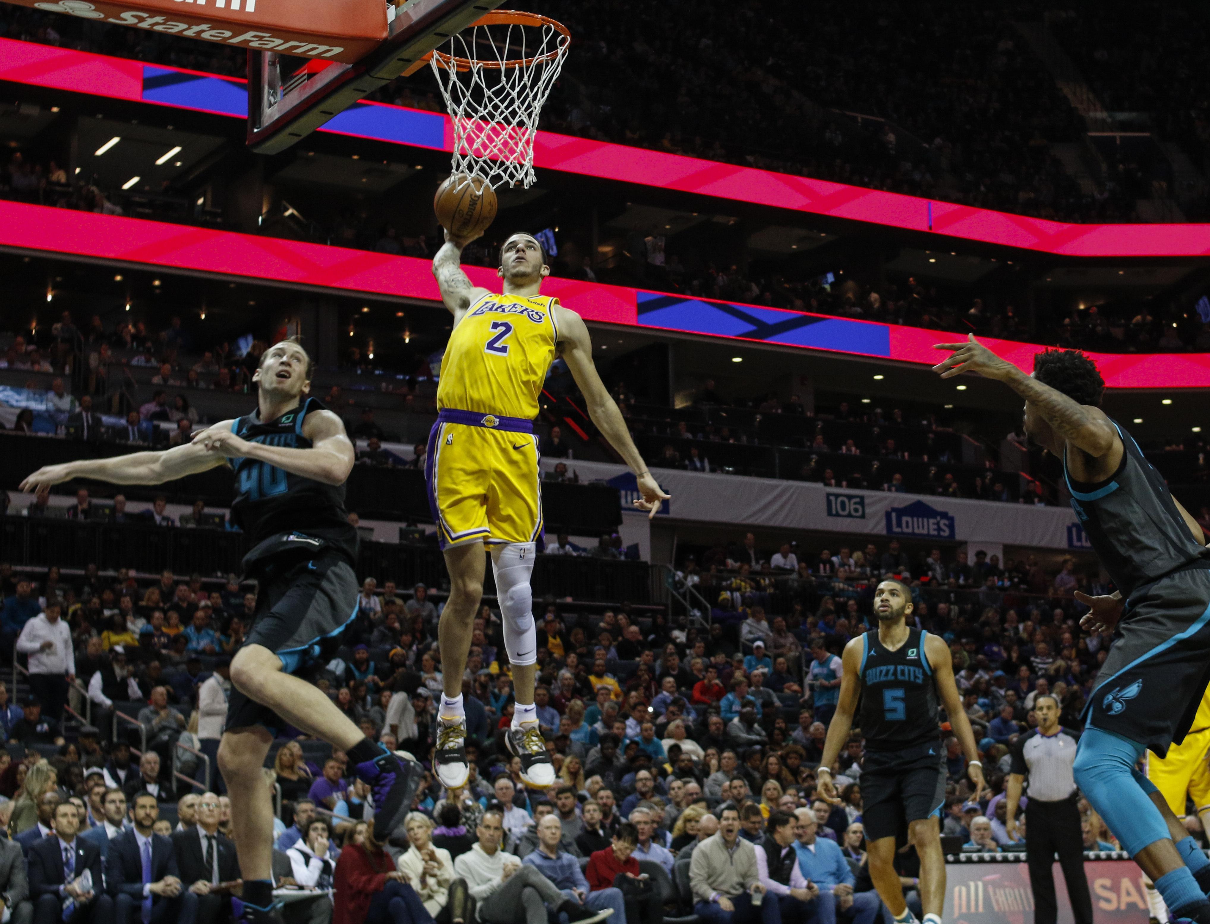 d1872f0d1d2 Los Angeles Lakers guard Lonzo Ball (2) dunks against Charlotte Hornets  center Cody Zeller