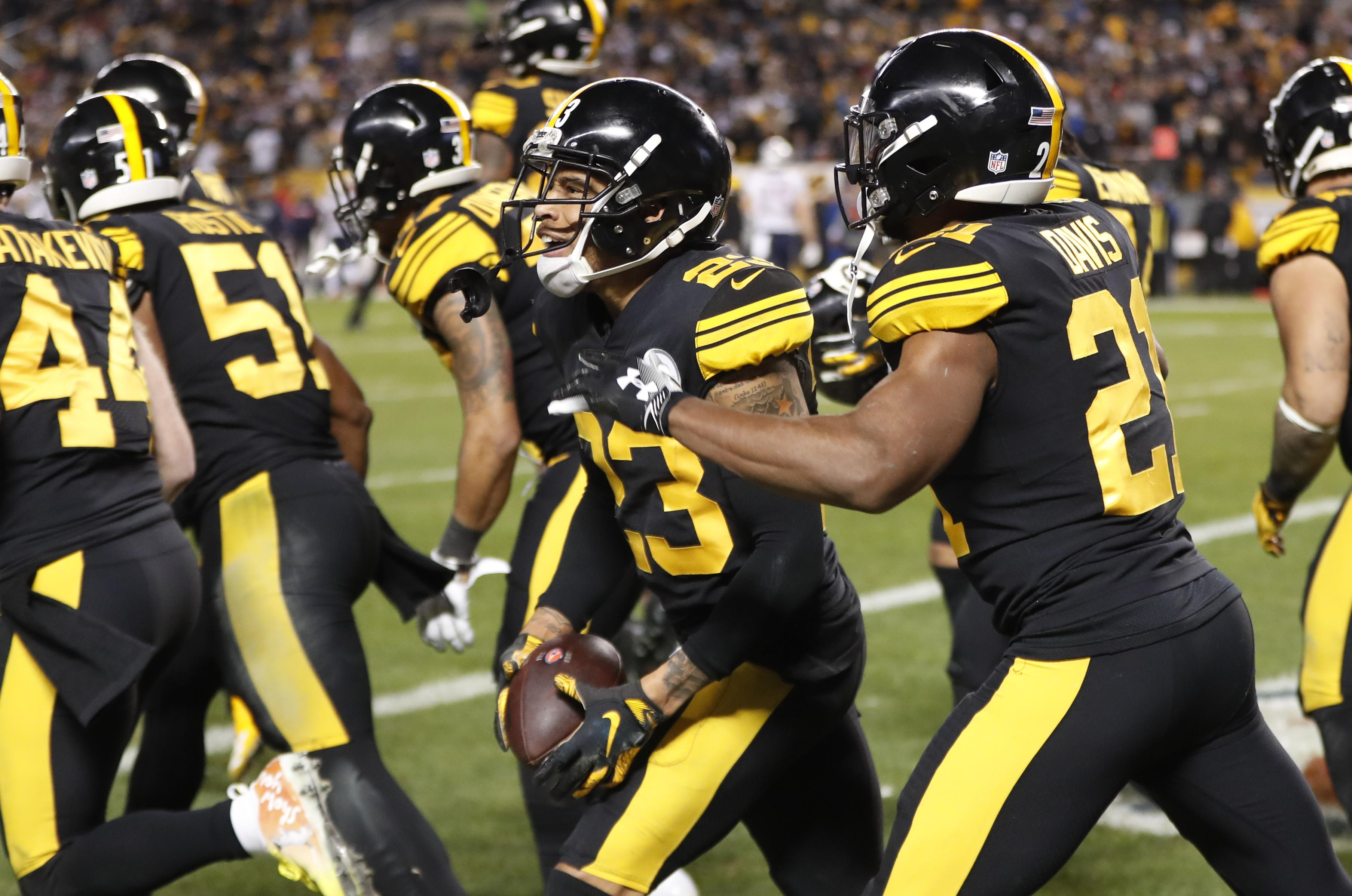 fd666d7794b Pittsburgh Steelers cornerback Joe Haden celebrates after intercepting a  pass intended for New England Patriots wide