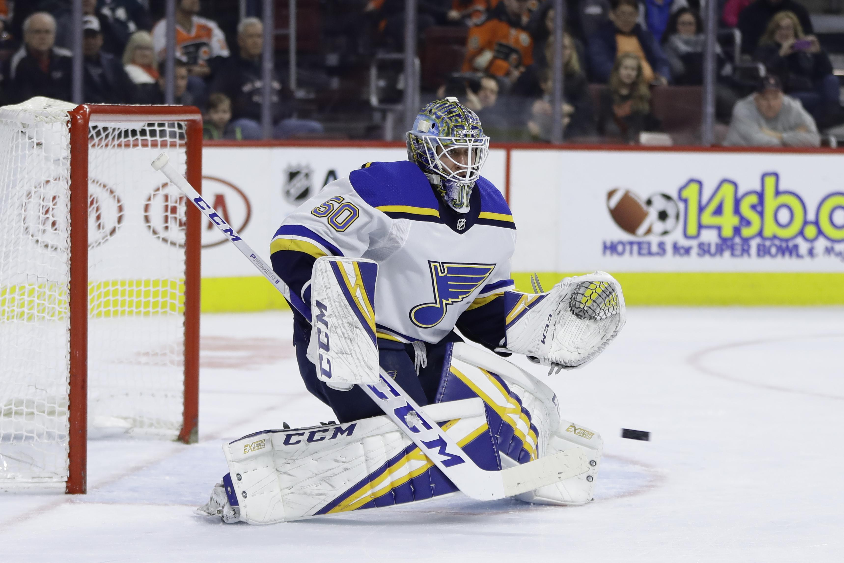 36a47eb40 St. Louis rookie goalkeeper Jordan Binnington pitched a shutout in his  first start for the