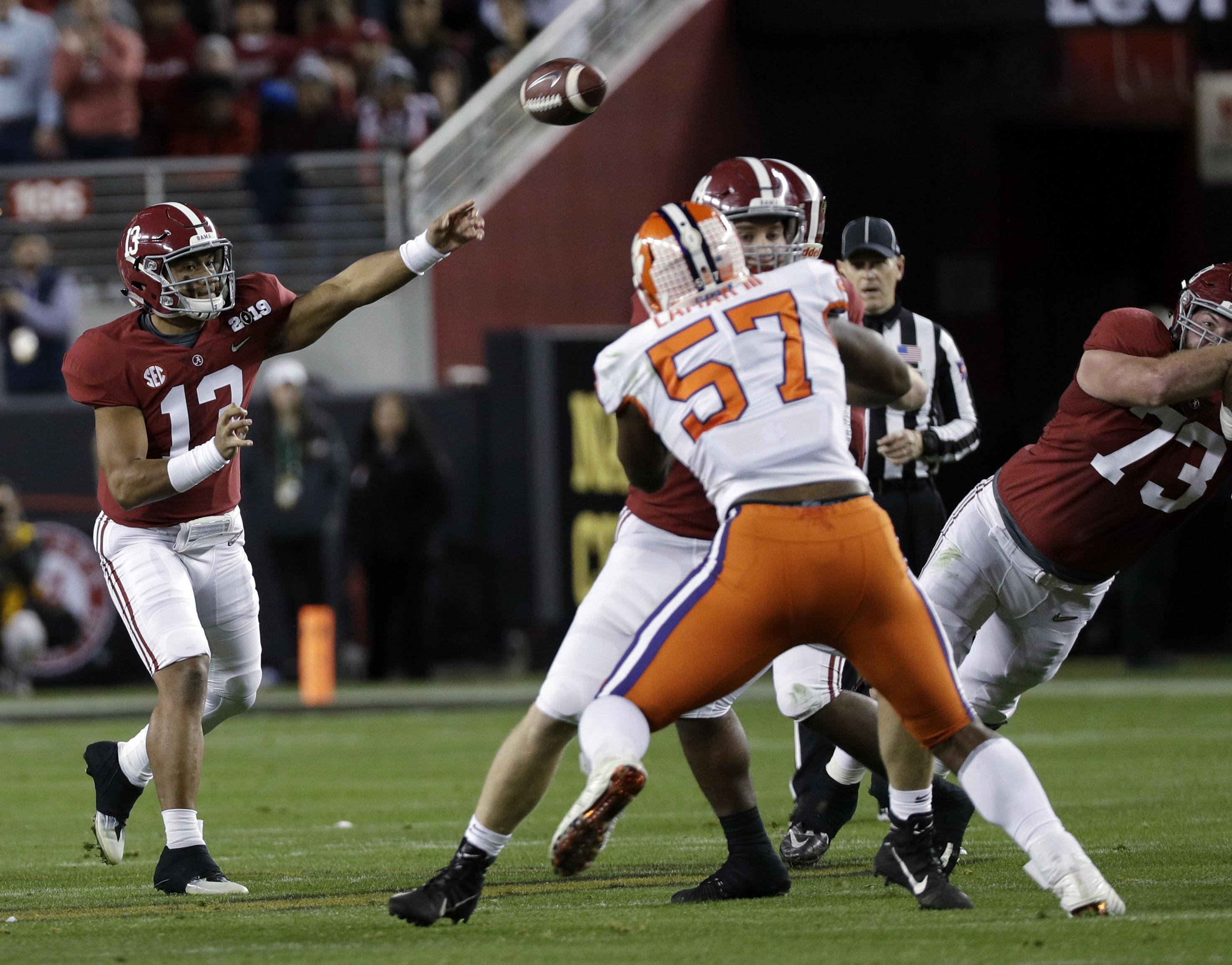 Alabama s Tua Tagovailoa throws during the first half the NCAA college  football playoff championship game against 0d08da778