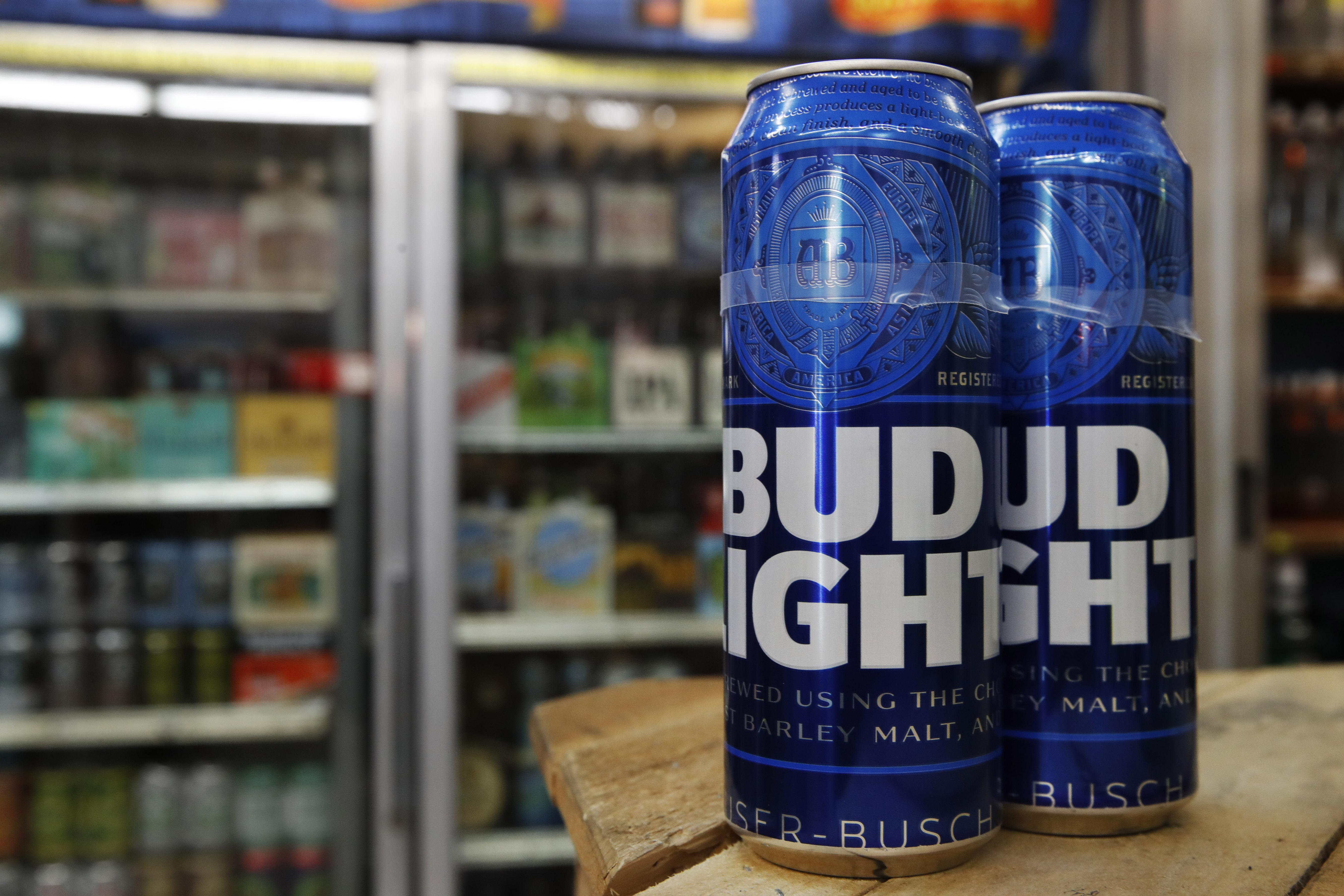 10, 2019, photo shows cans of Bud Light in