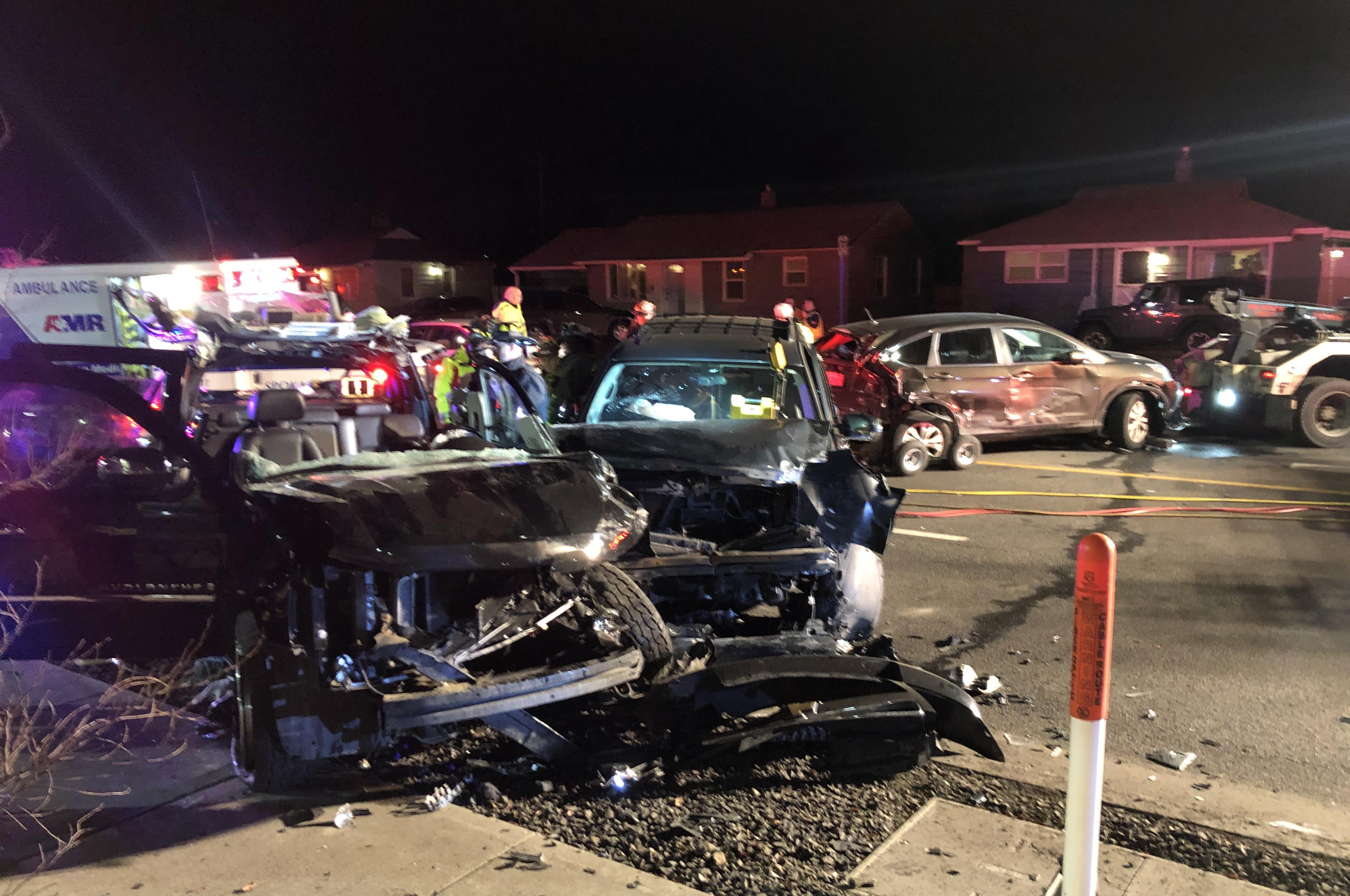 Man trapped in car for an hour after 5-car crash in North