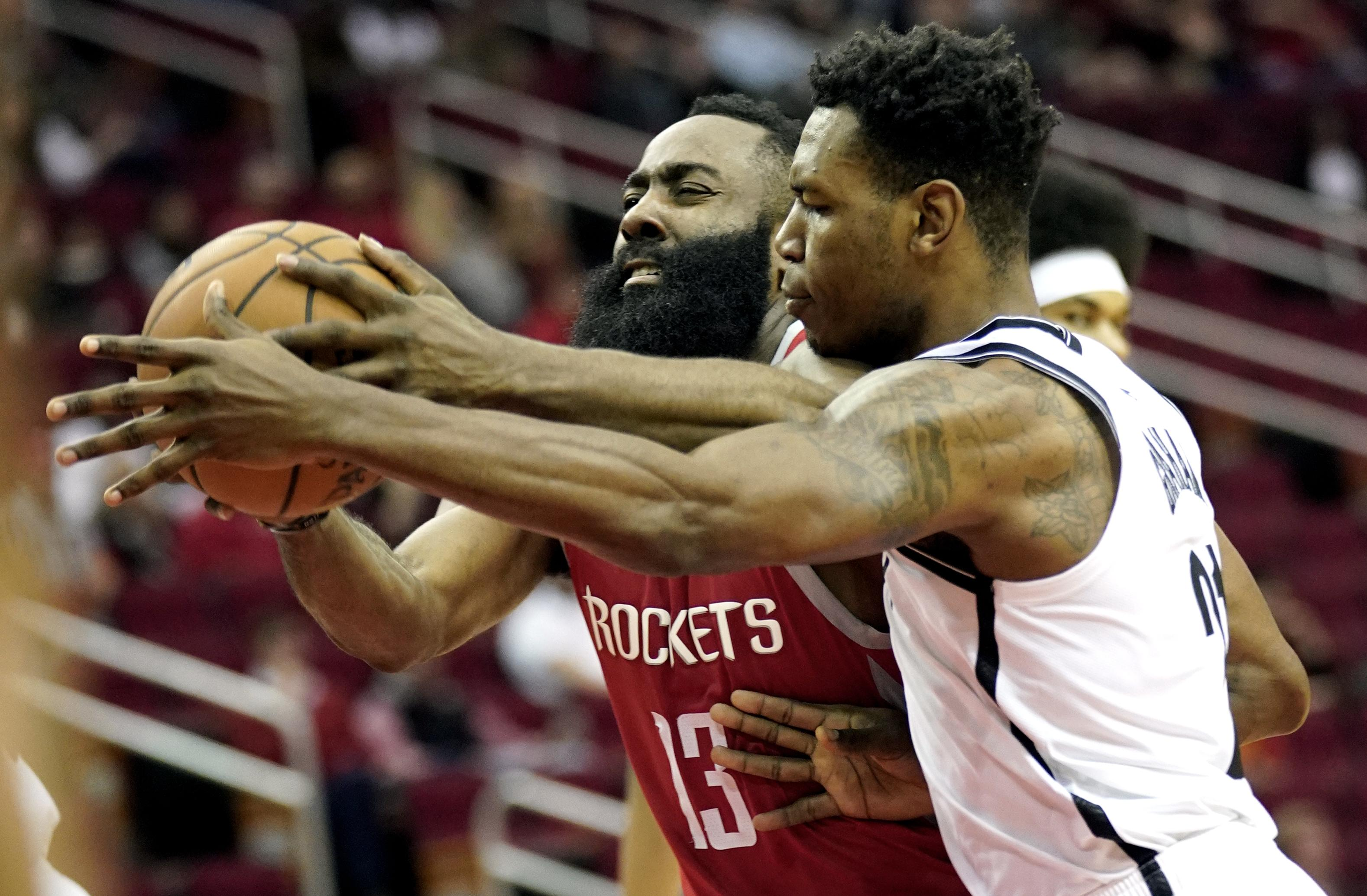 8c9448c08765 Houston Rockets  James Harden (13) is fouled by Brooklyn Nets  Treveon  Graham