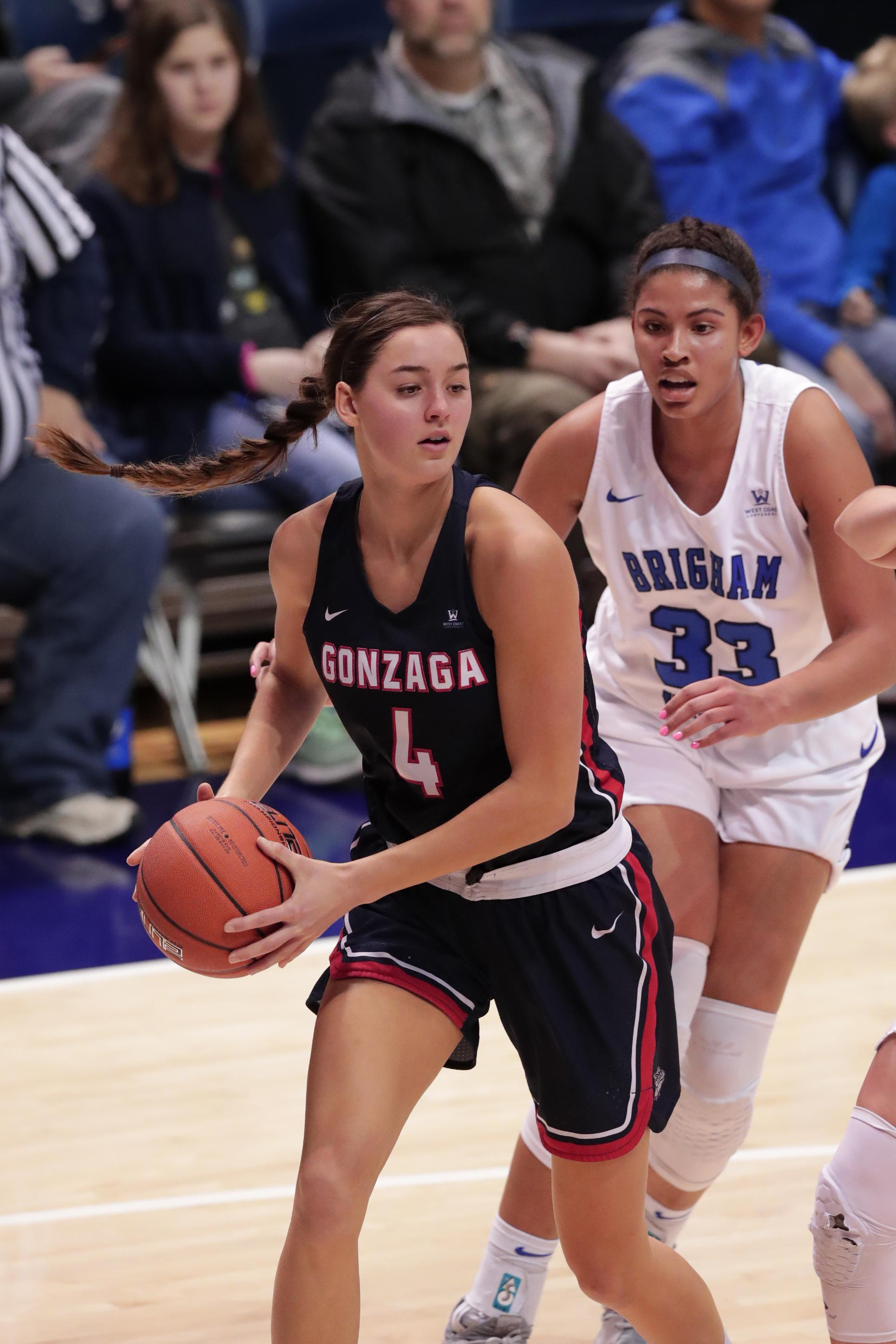 huge selection of 779b6 0b179 Gonzaga forward LeeAnne Wirth drives to the basket against BYU on Thursday  in Provo, Utah