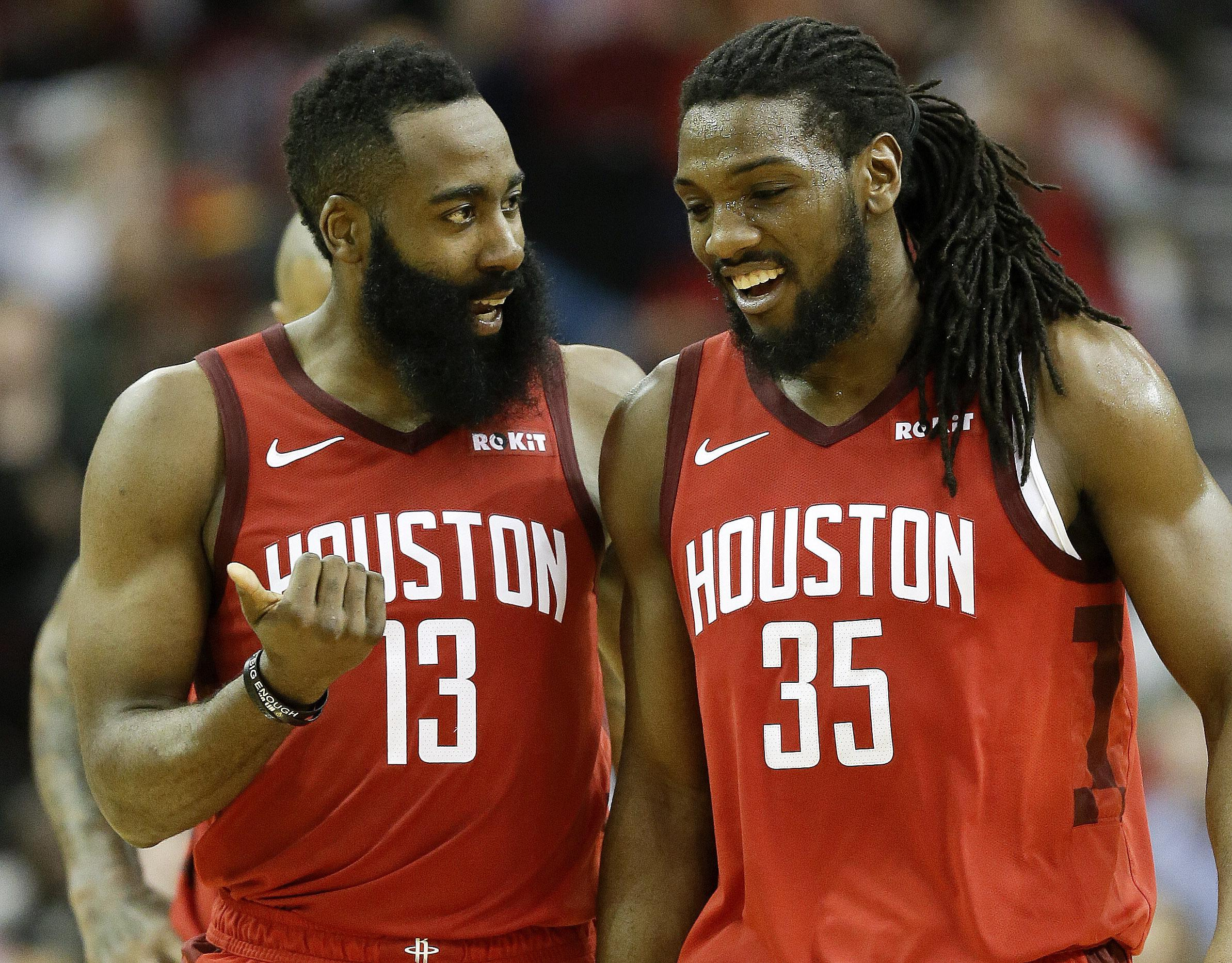 e839c28297b Houston Rockets guard James Harden (13) talks with forward Kenneth Faried  late in the