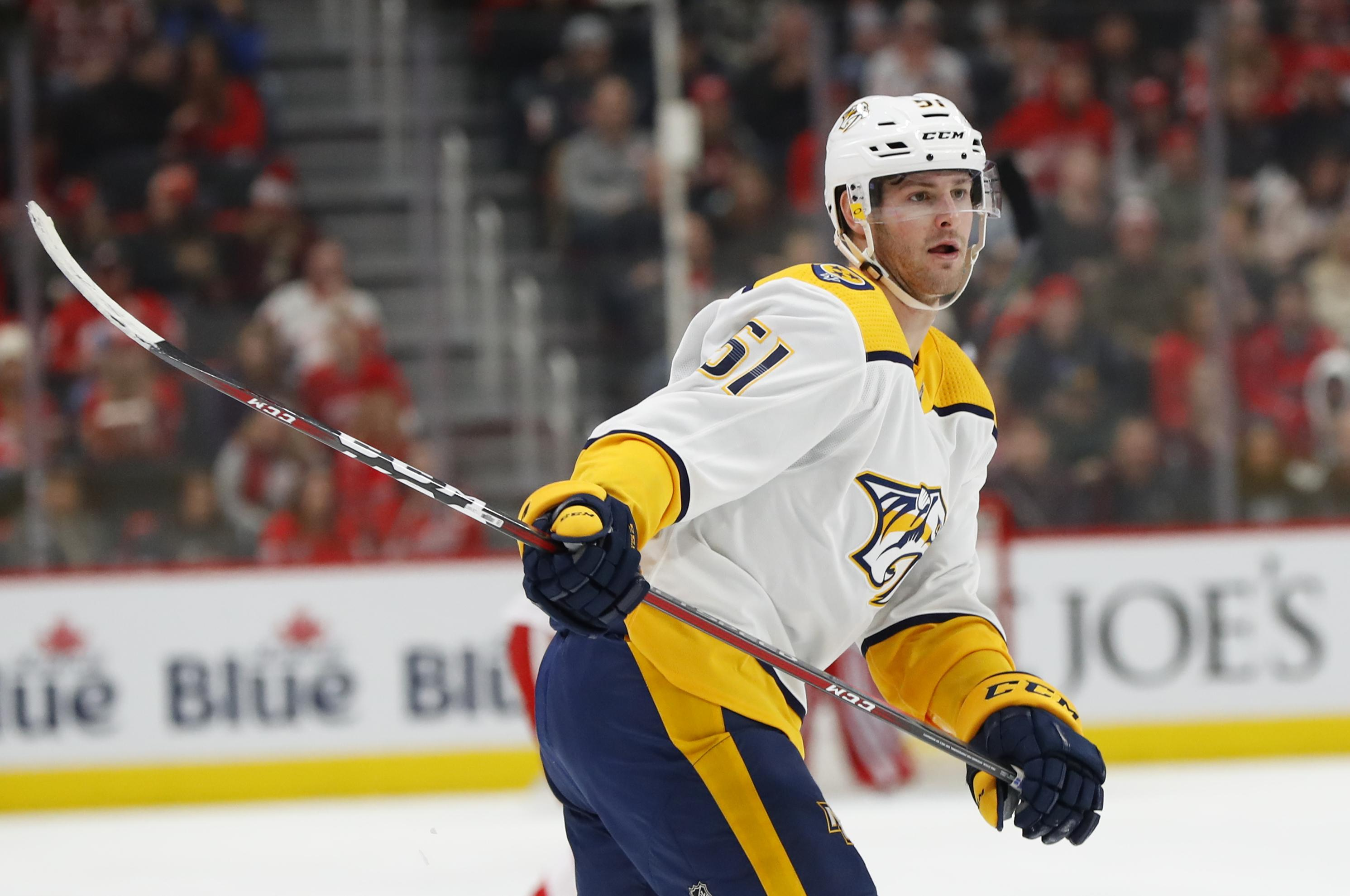 Nashville Predators left wing Austin Watson got his first hat trick in  November. (Paul 538d4f831a7