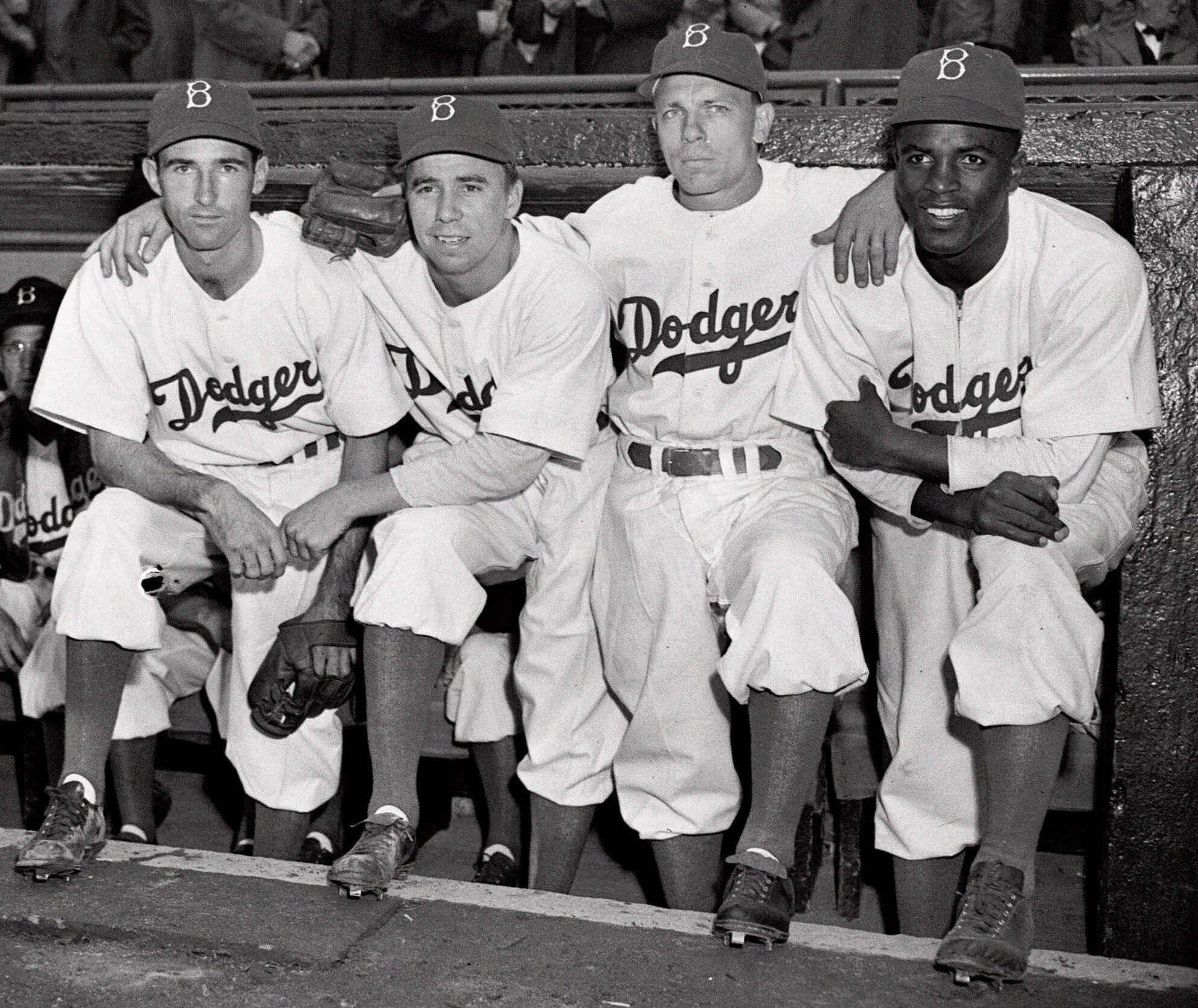 79cb11c75 Brooklyn Dodgers baseball players, from left, John Jorgensen, Pee Wee  Reese, Ed