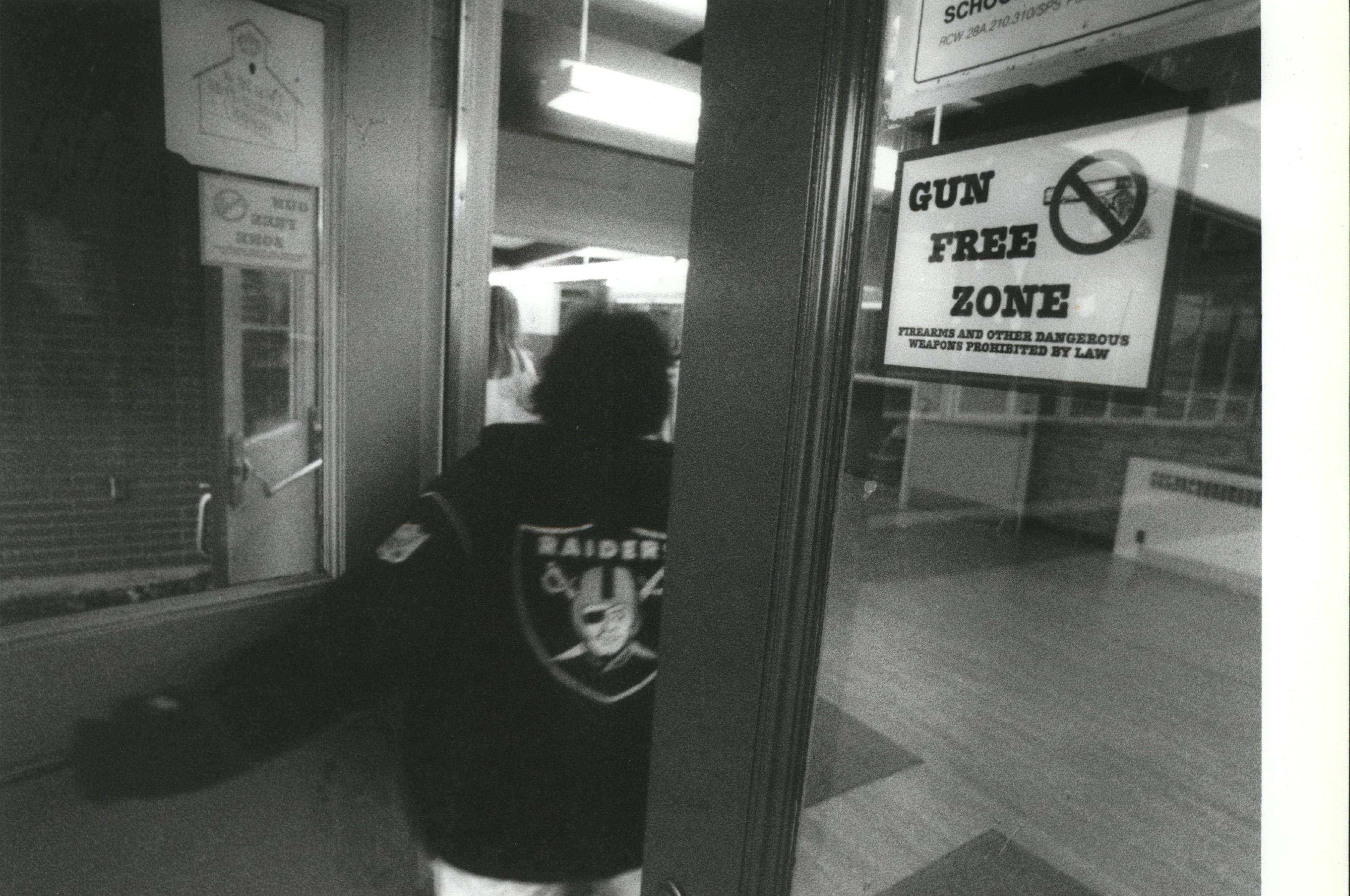 The entrances to shaw middle school had gun free zone warnings in this 1993 photo