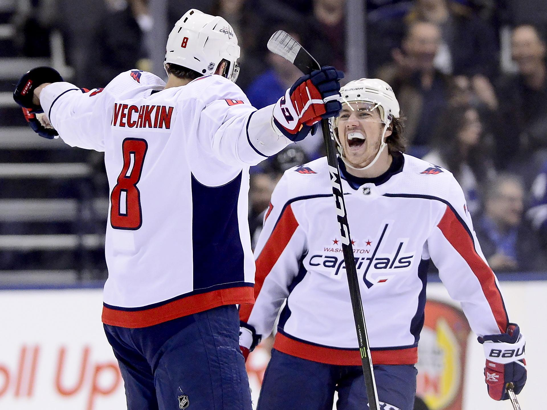 1df2ade9080 Washington Capitals left wing Alex Ovechkin (8) celebrates his goal with  teammate T.J. Oshie