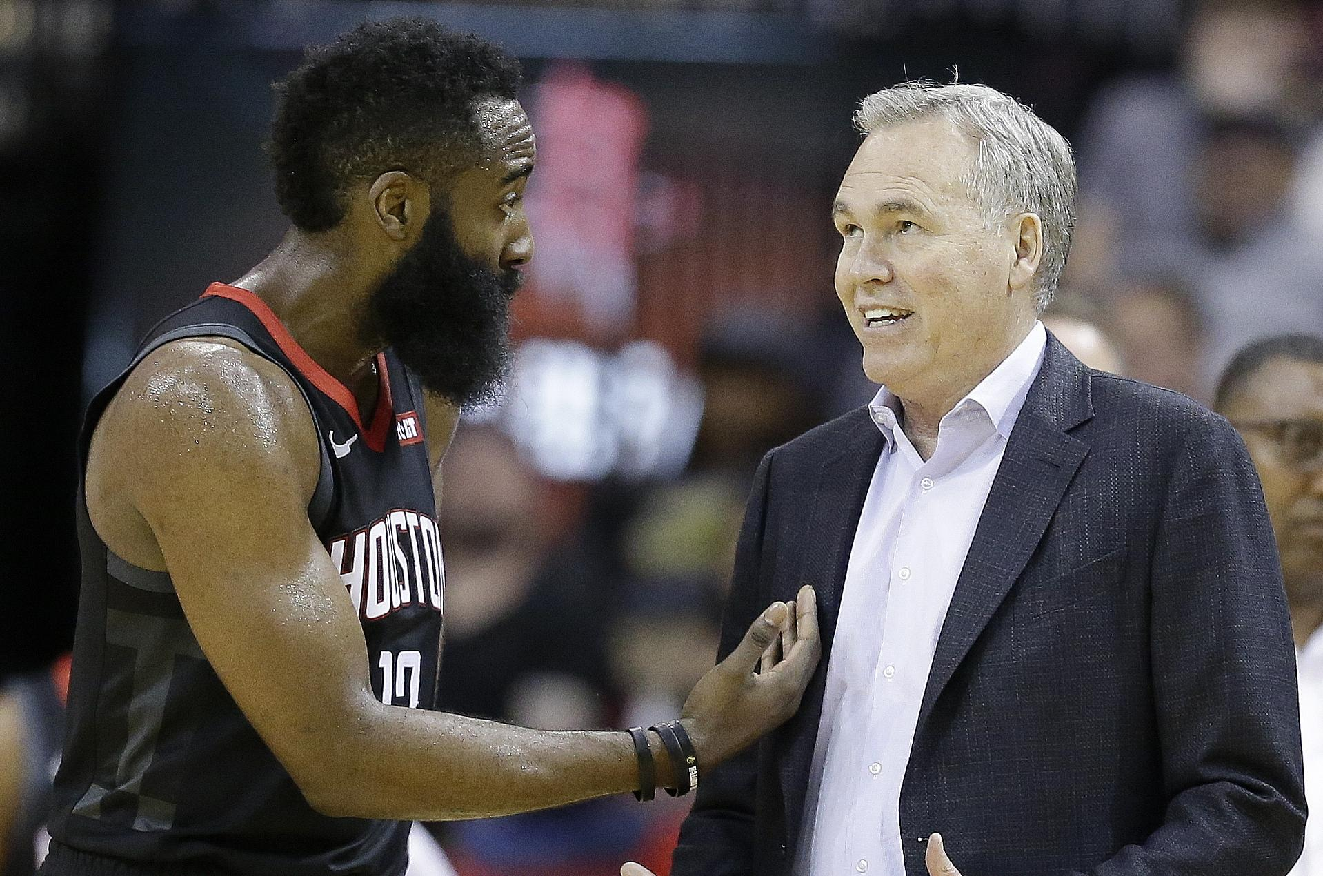 f8b0d8b6ebe Houston Rockets guard James Harden (13) and head coach Mike D Antoni talk