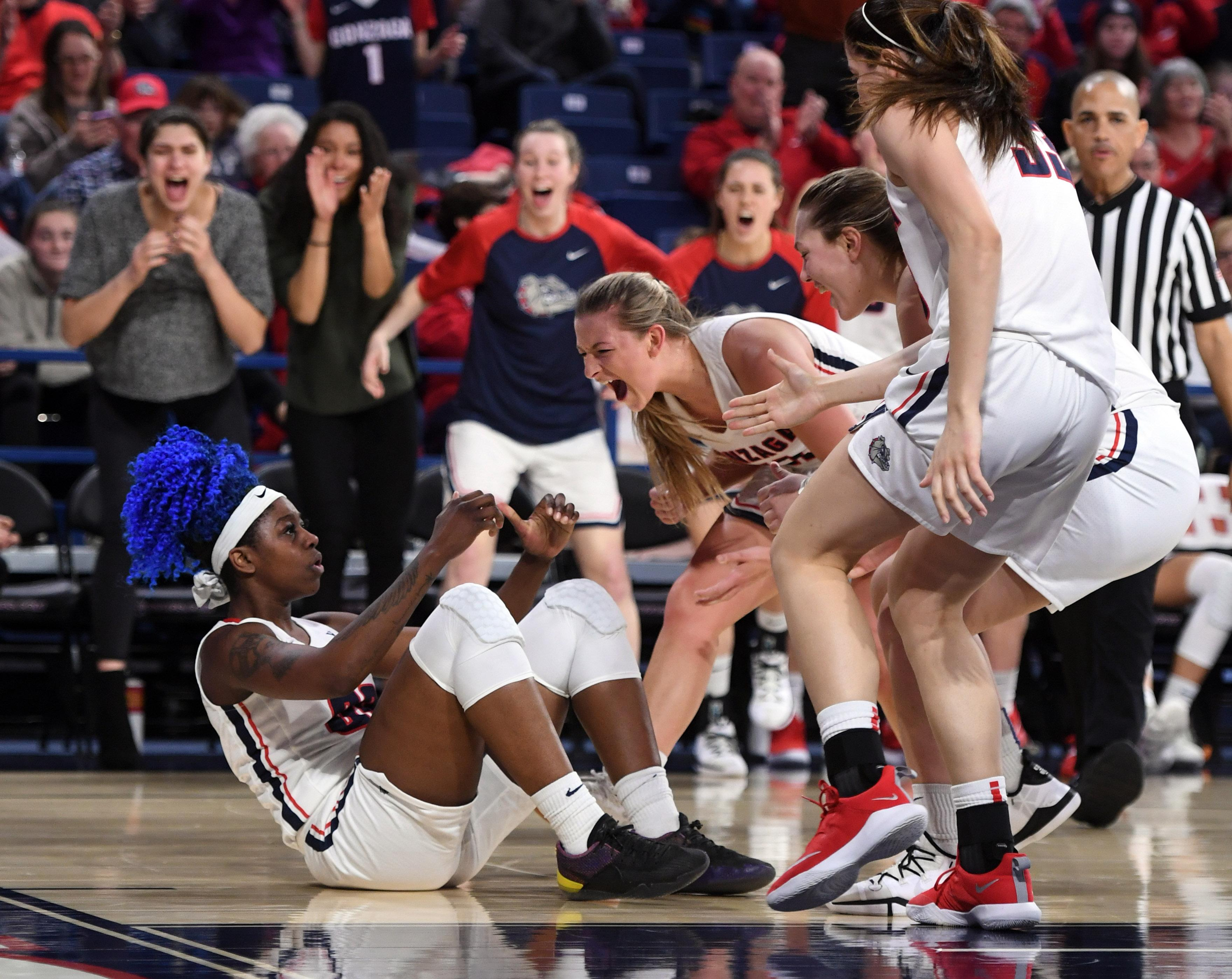 new york e892b 2e2fb Gonzaga forward Zykera Rice is fouled after a basket during the second half  Thursday in the