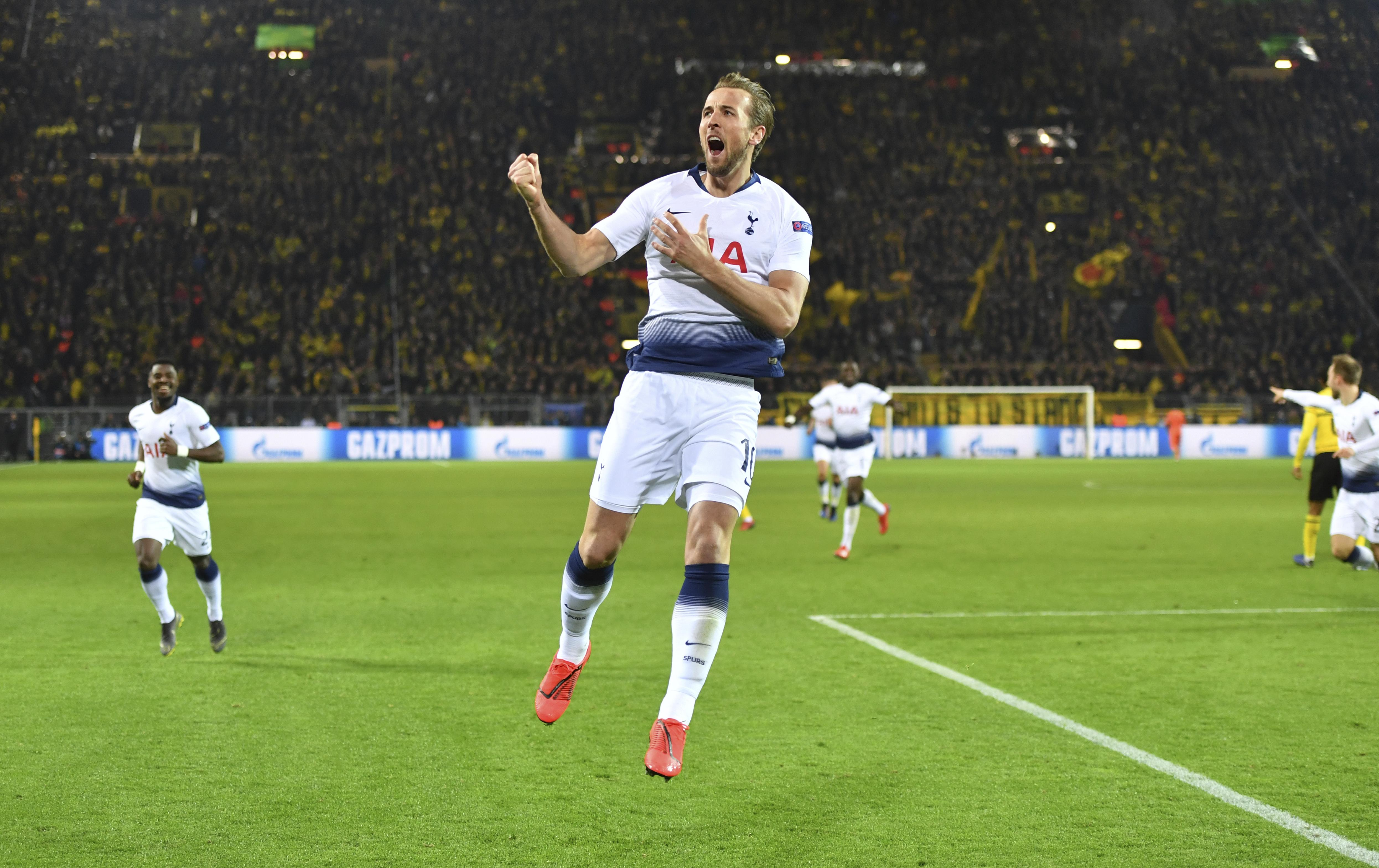 a0c145e7cca Tottenham forward Harry Kane celebrates after scoring the opening goal  during the Champions League round of