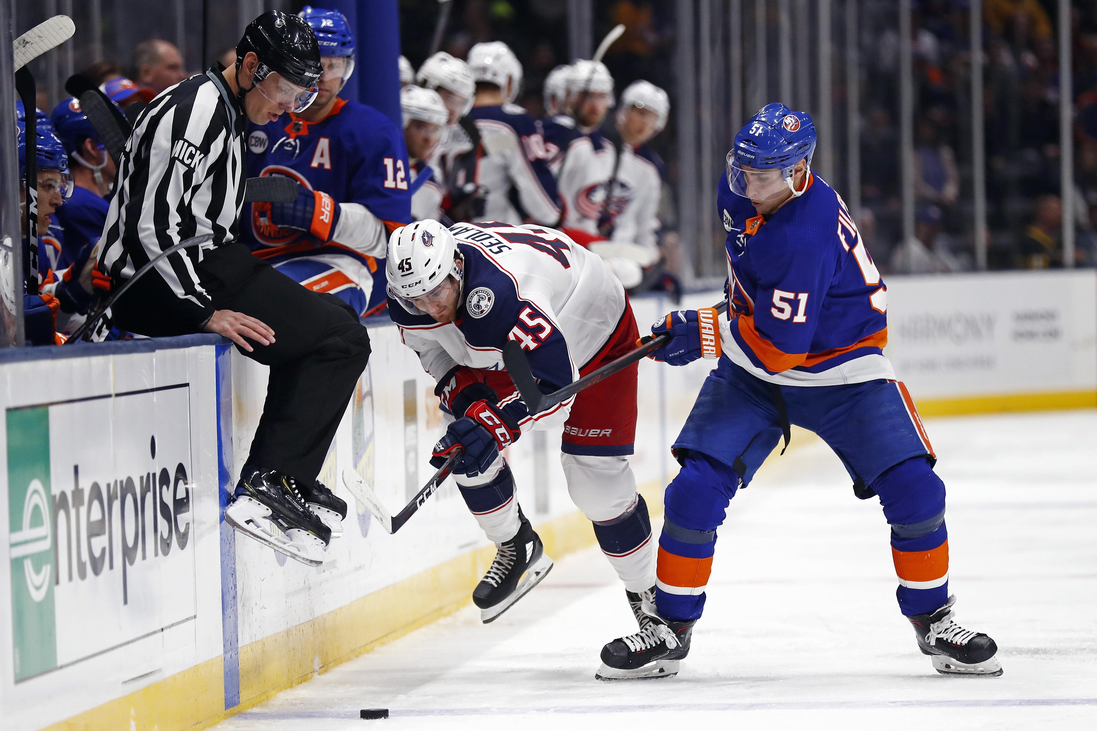 376a4617d24 Columbus Blue Jackets center Lukas Sedlak (45) and New York Islanders  center Valtteri Filppula