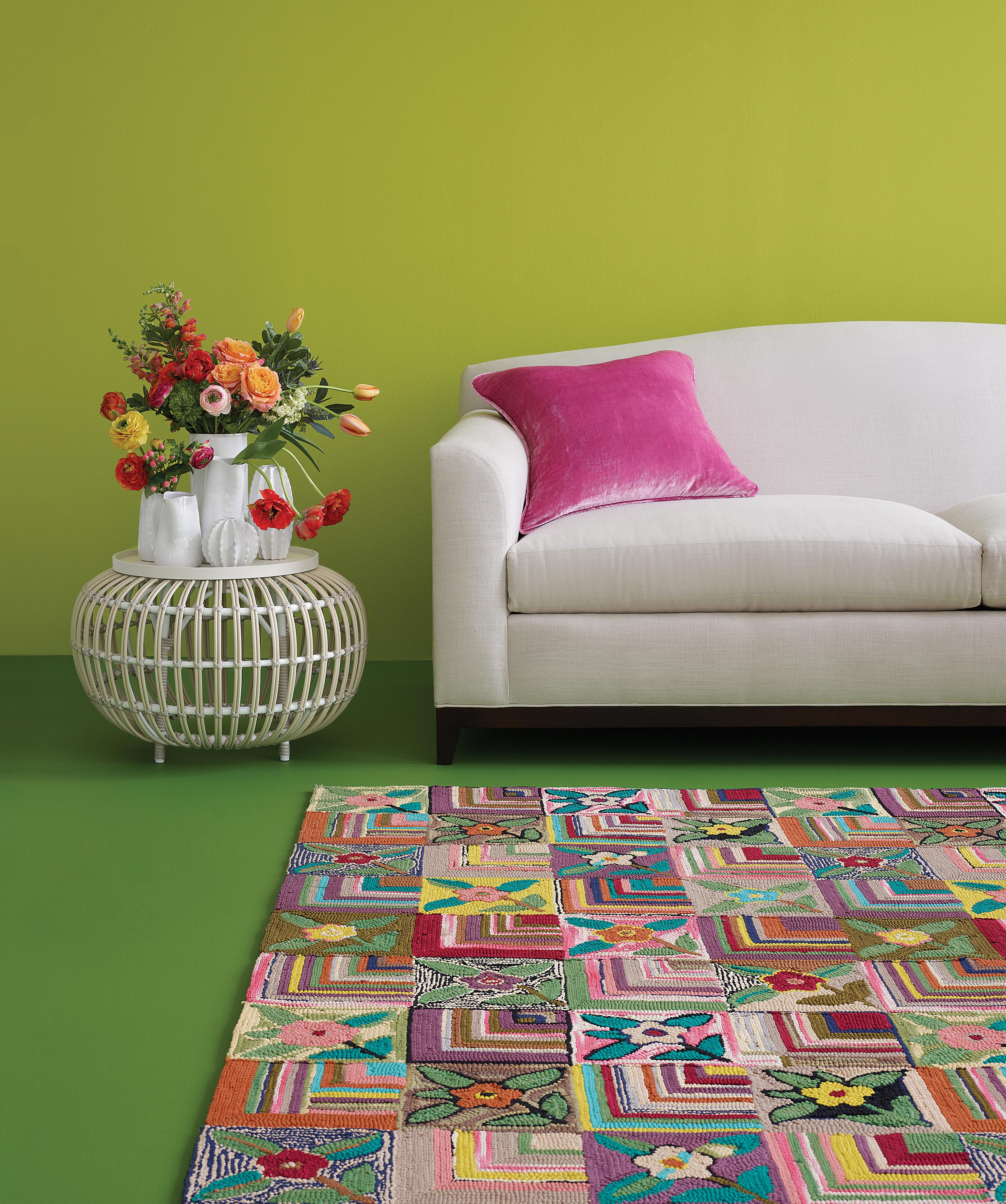 Make the rug a room's focal point by choosing a piece with a bright, intricate
