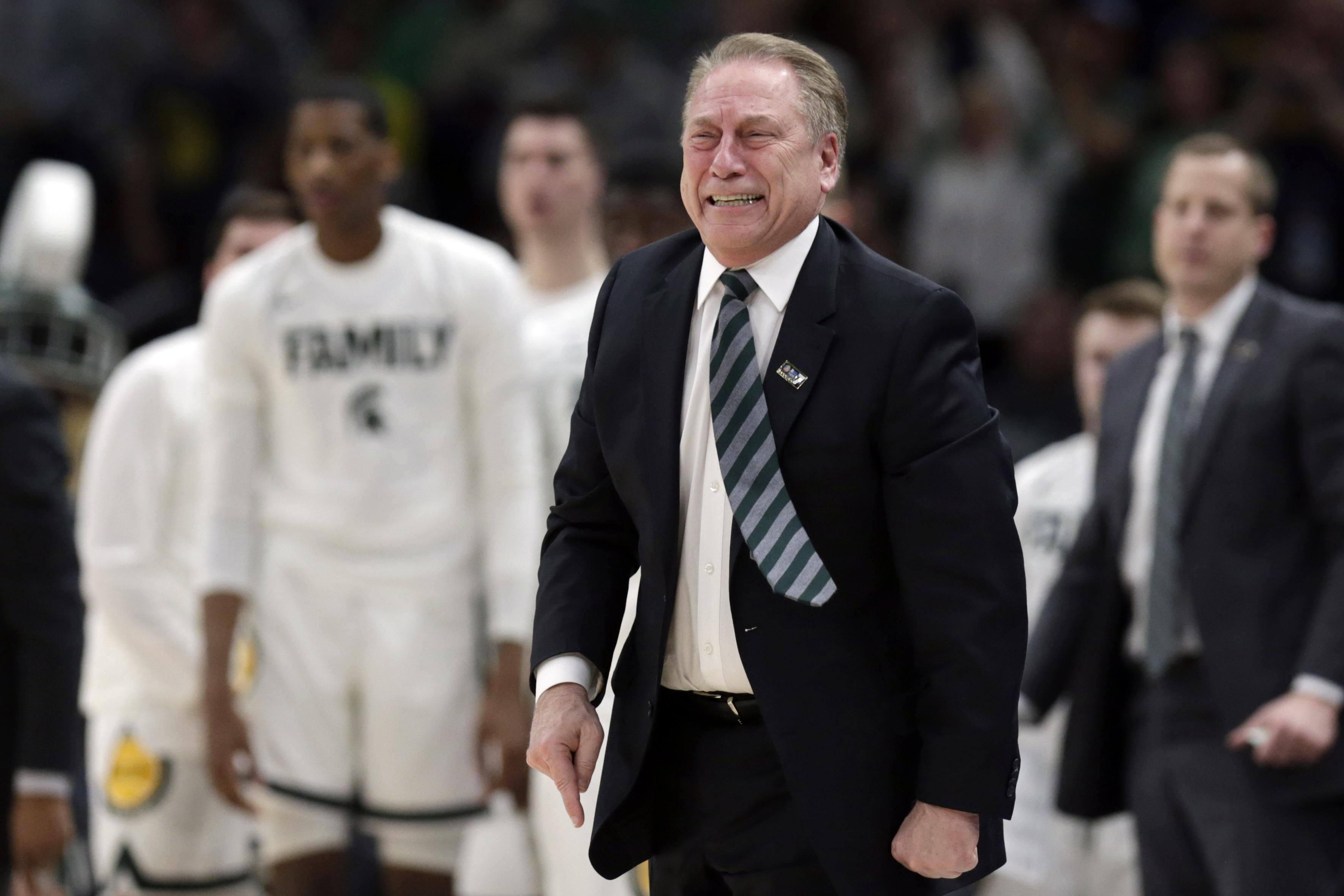 87f0446003f Michigan State head coach Tom Izzo reacts during the second half of an NCAA  college basketball