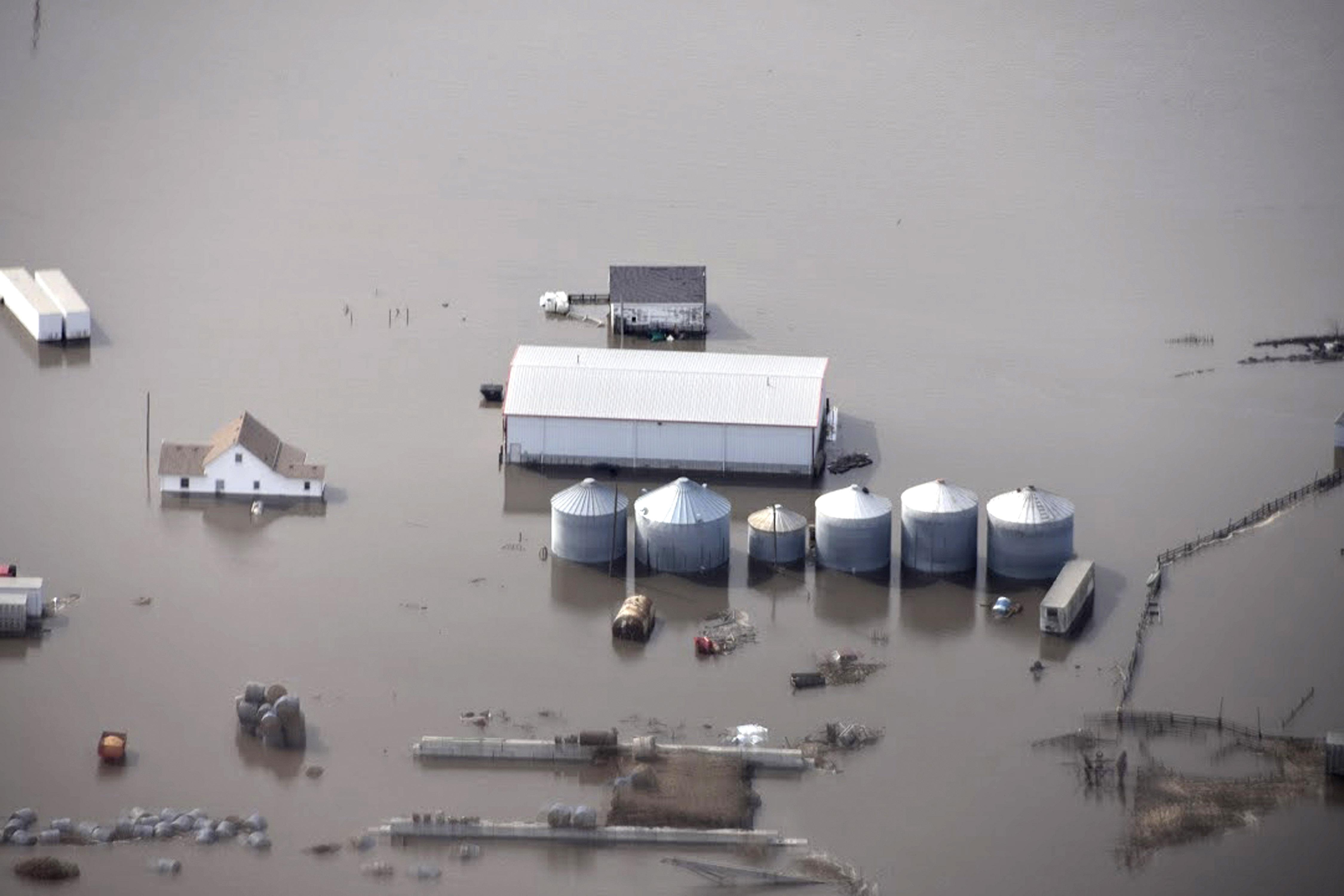 floodwaters threaten millions in crop and livestock losses thethis monday, march 18, 2019, photo taken by the south dakota civil air