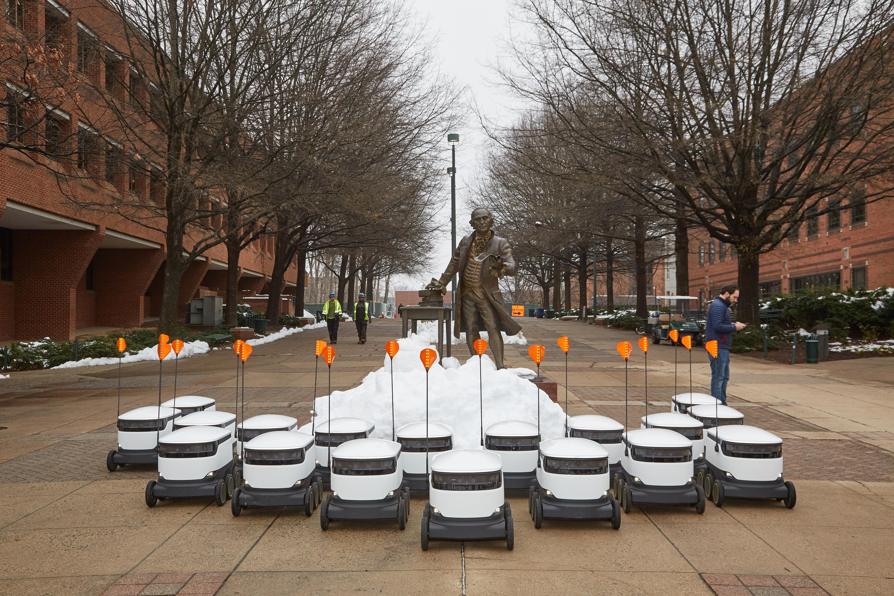 George mason university in fairfax virginia received 25 delivery robots that can haul up
