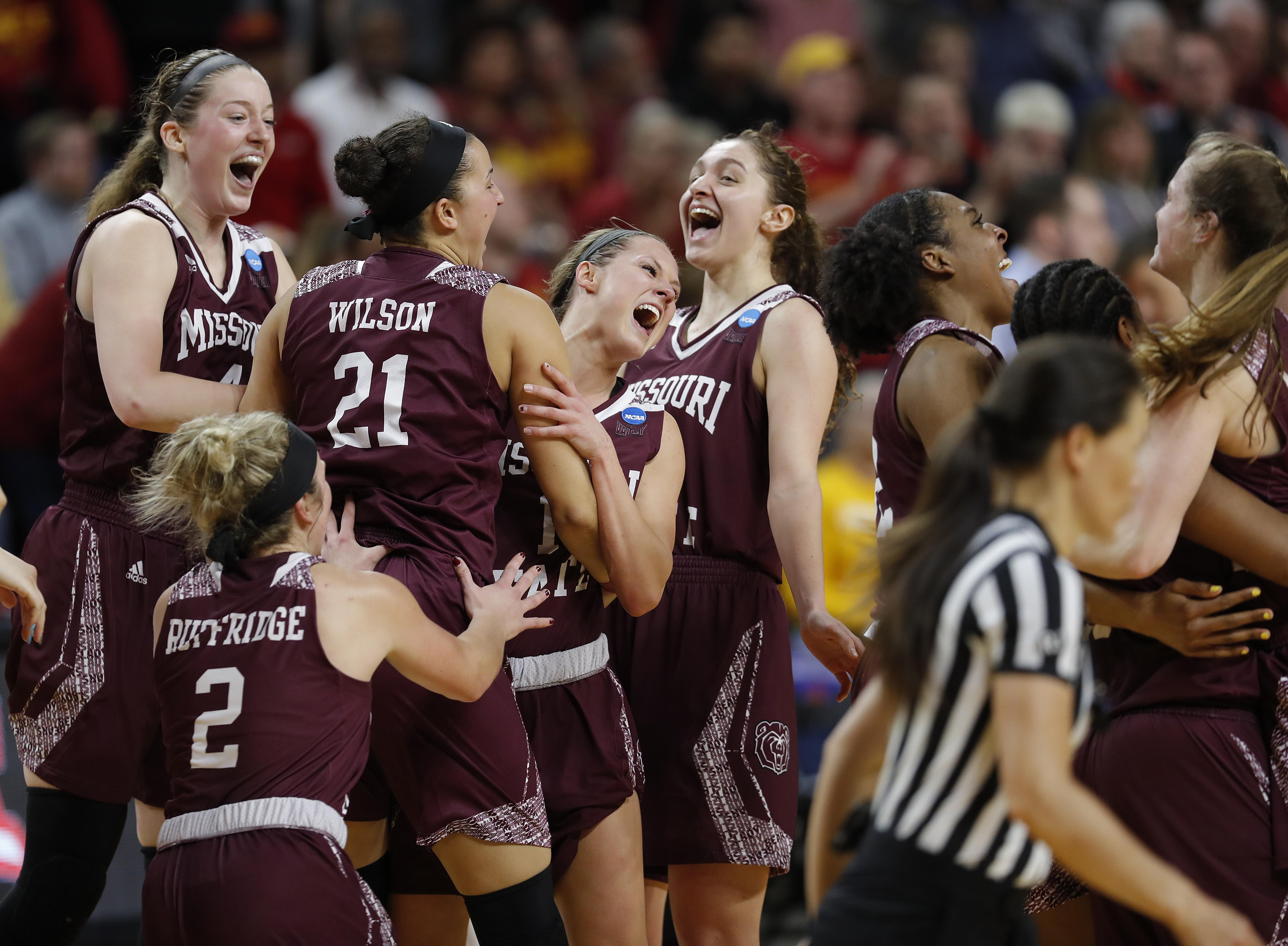 1bef62debf43 Missouri State players celebrate after defeating Iowa State 69-60 in a  second-round
