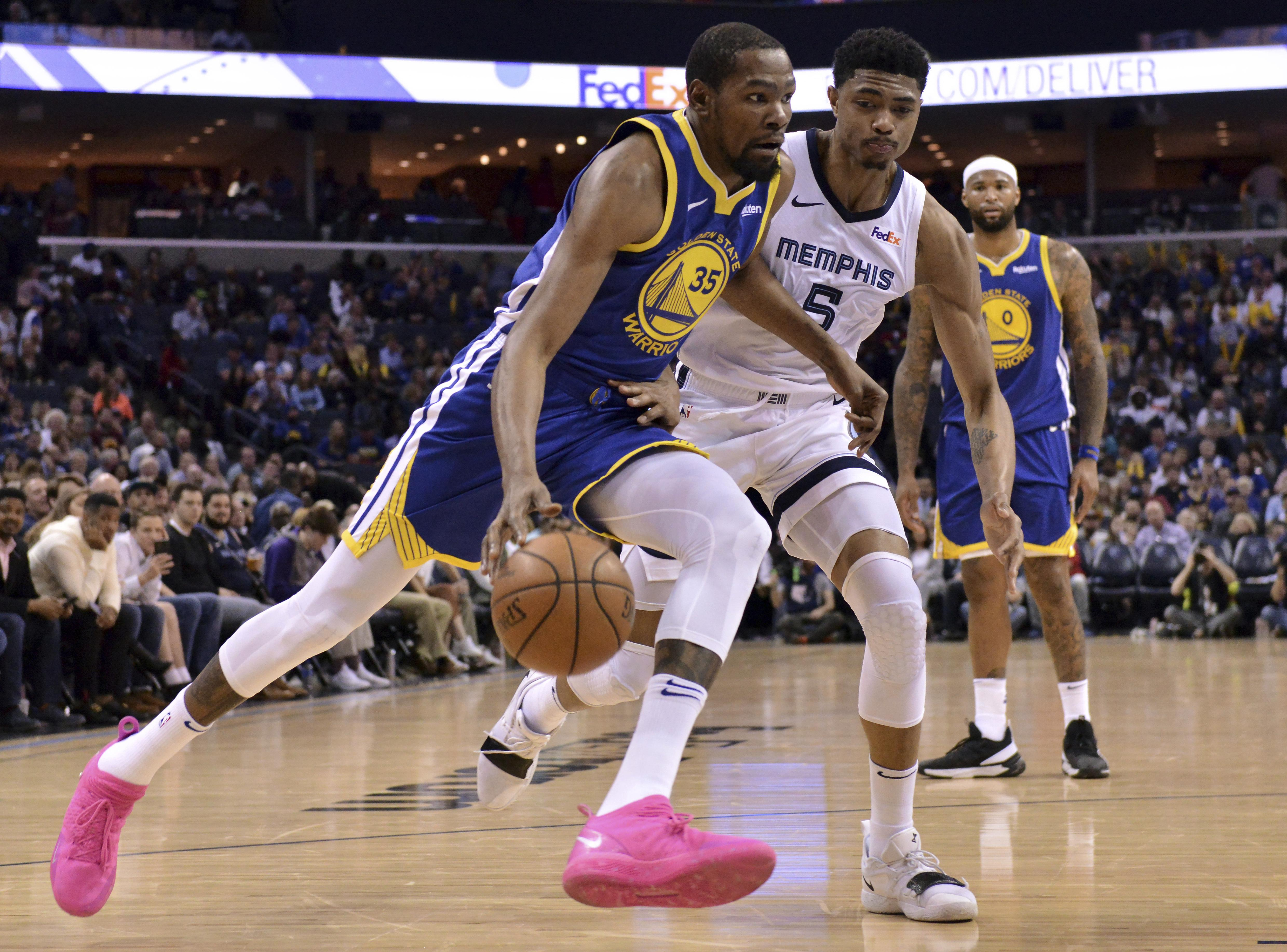 cf6ad467b Golden State Warriors forward Kevin Durant (35) drives against Memphis  Grizzlies forward Bruno Caboclo