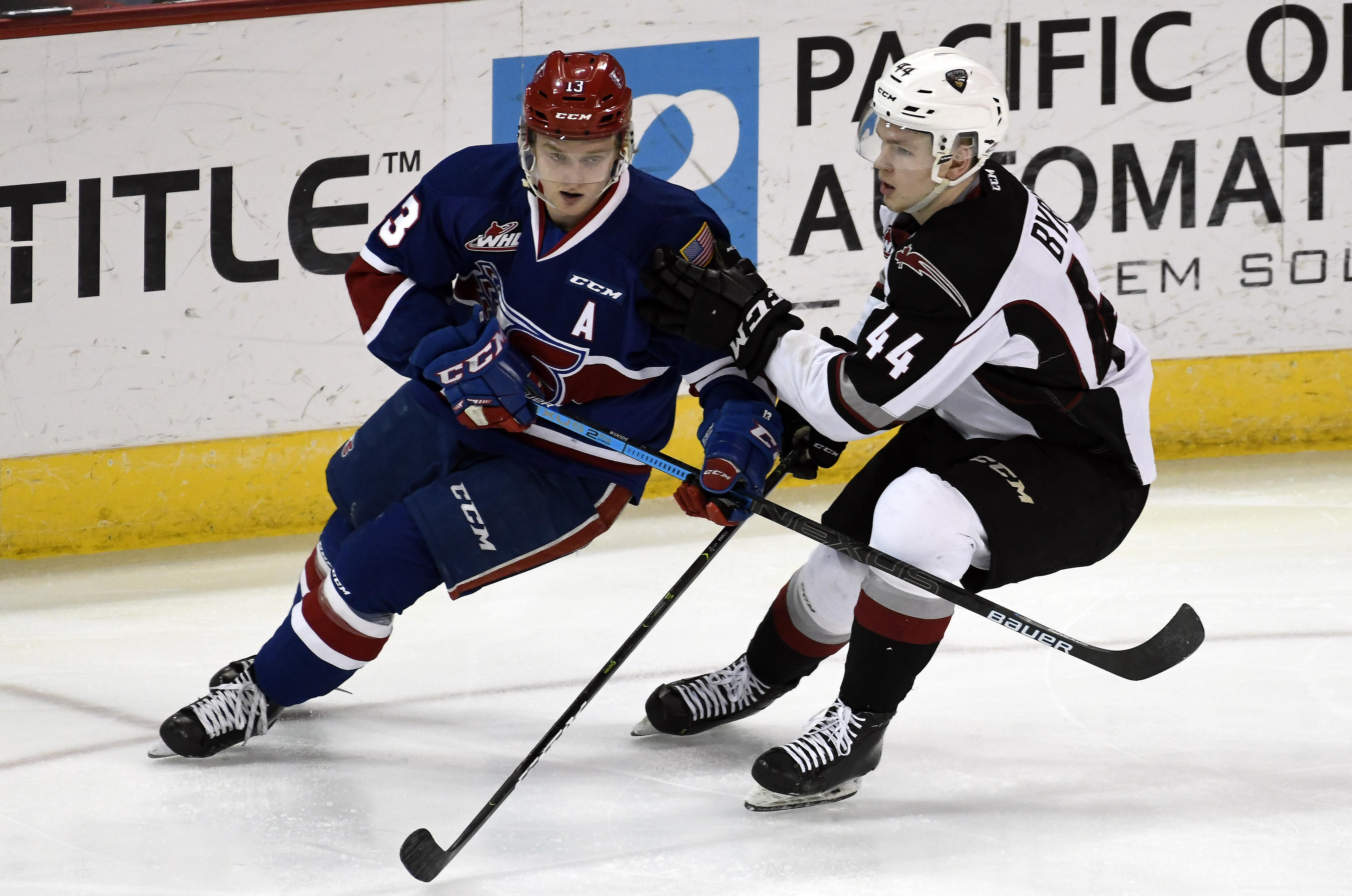 873bba0fd Spokane Chiefs forward Riley Woods, left, has six points through four  playoff games this