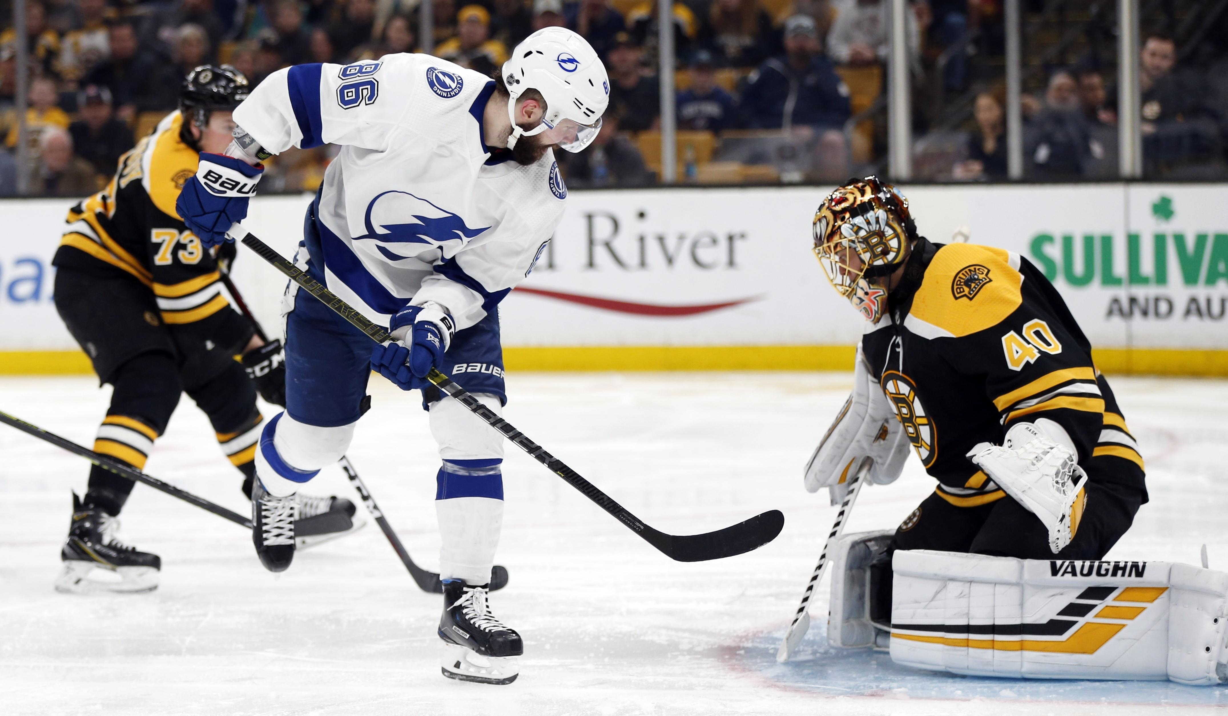 1a0c37822a9 Tampa Bay Lightning s Nikita Kucherov (86) scores on Boston Bruins  Tuukka  Rask (