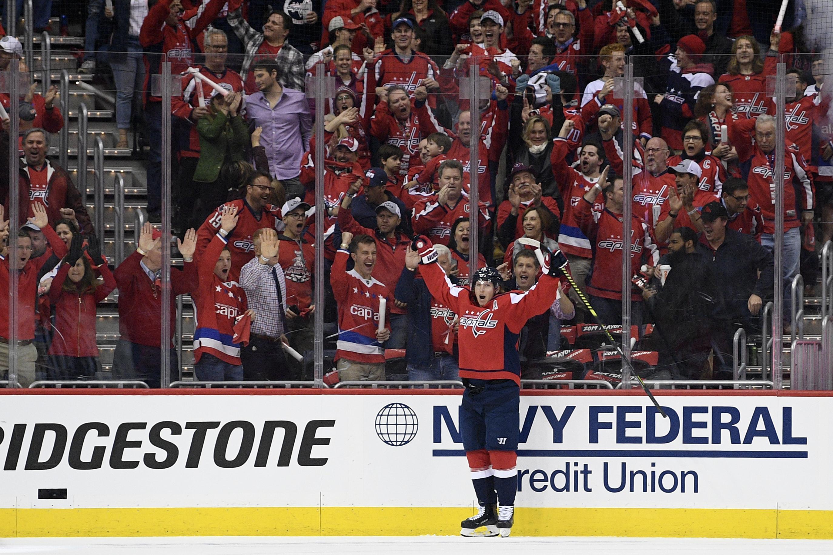 34f88ceca18 Washington Capitals center Nicklas Backstrom (19), of Sweden, celebrates  his goal against