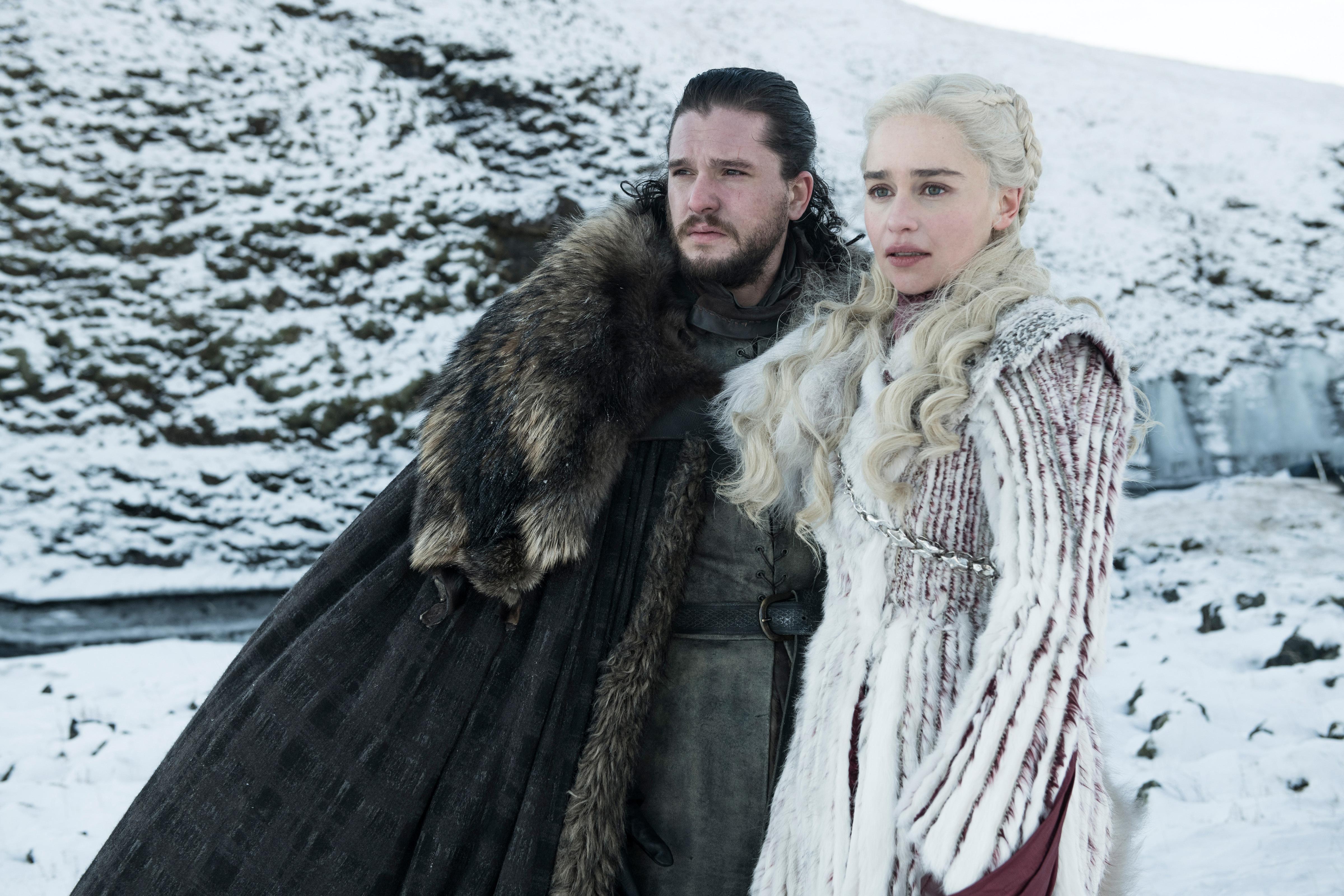 5f87a7ba8e3d2 Kit Harington, left, as Jon Snow and Emilia Clarke as Daenerys Targaryen in  Season