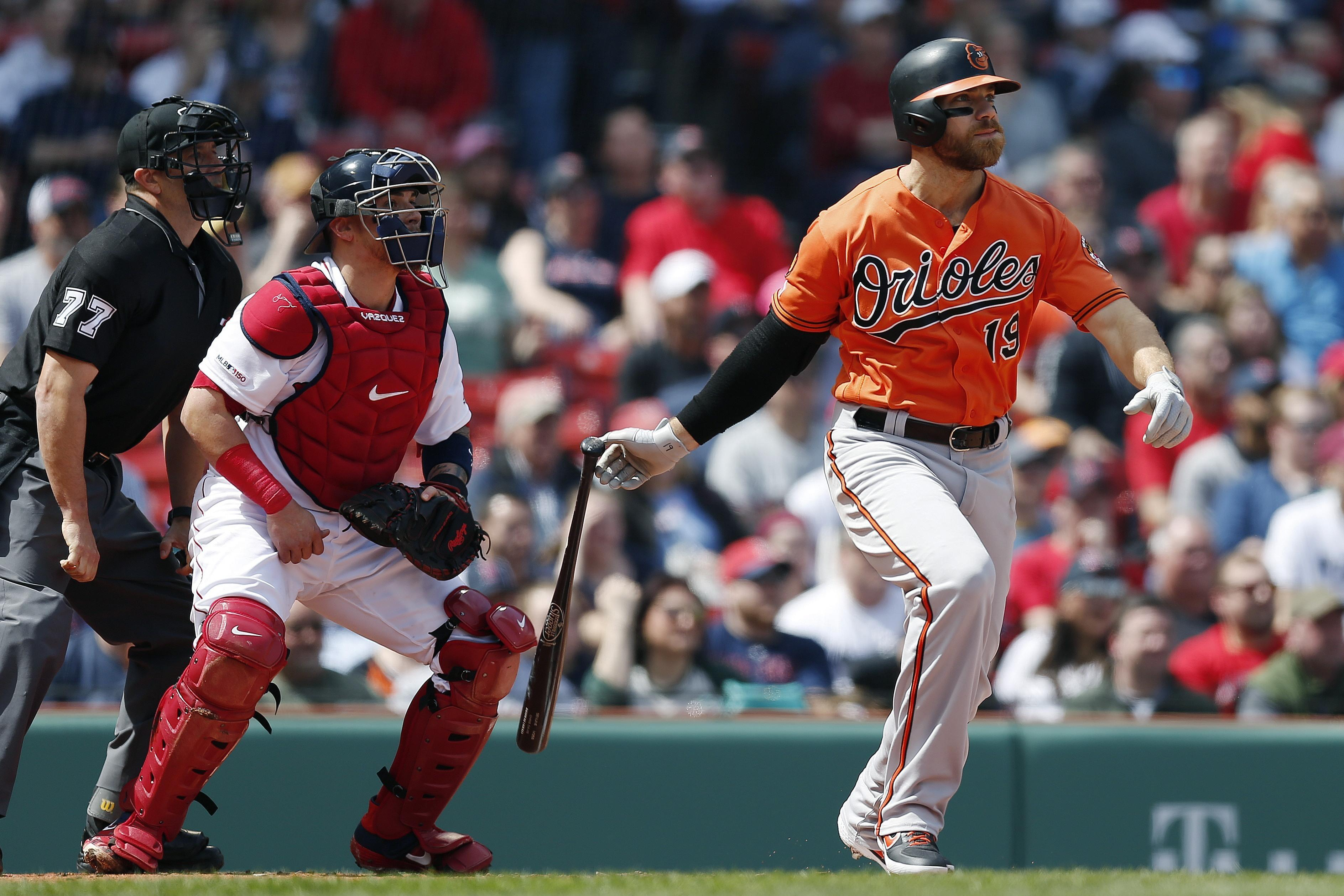 b65a78755d2 Baltimore Orioles  Chris Davis watches his two-run single in front of  Boston Red