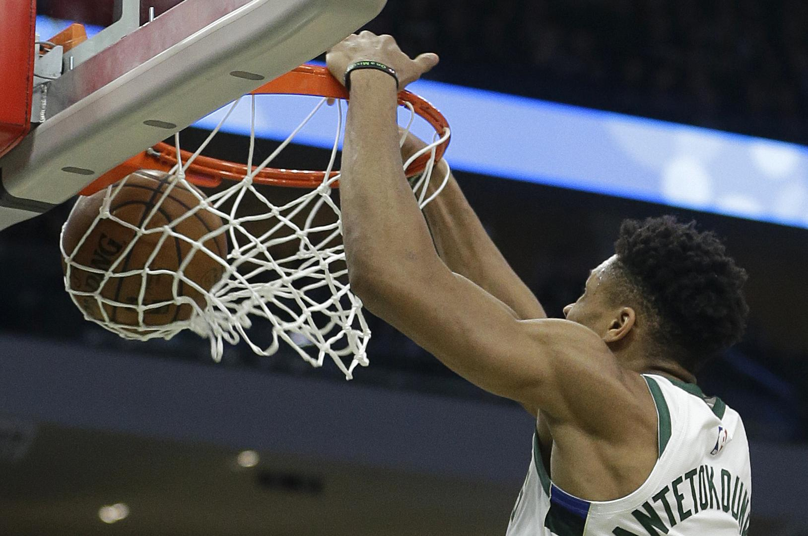 1d261fe1d835 Milwaukee Bucks  Giannis Antetokounmpo dunks during the second half of Game  1 of an NBA