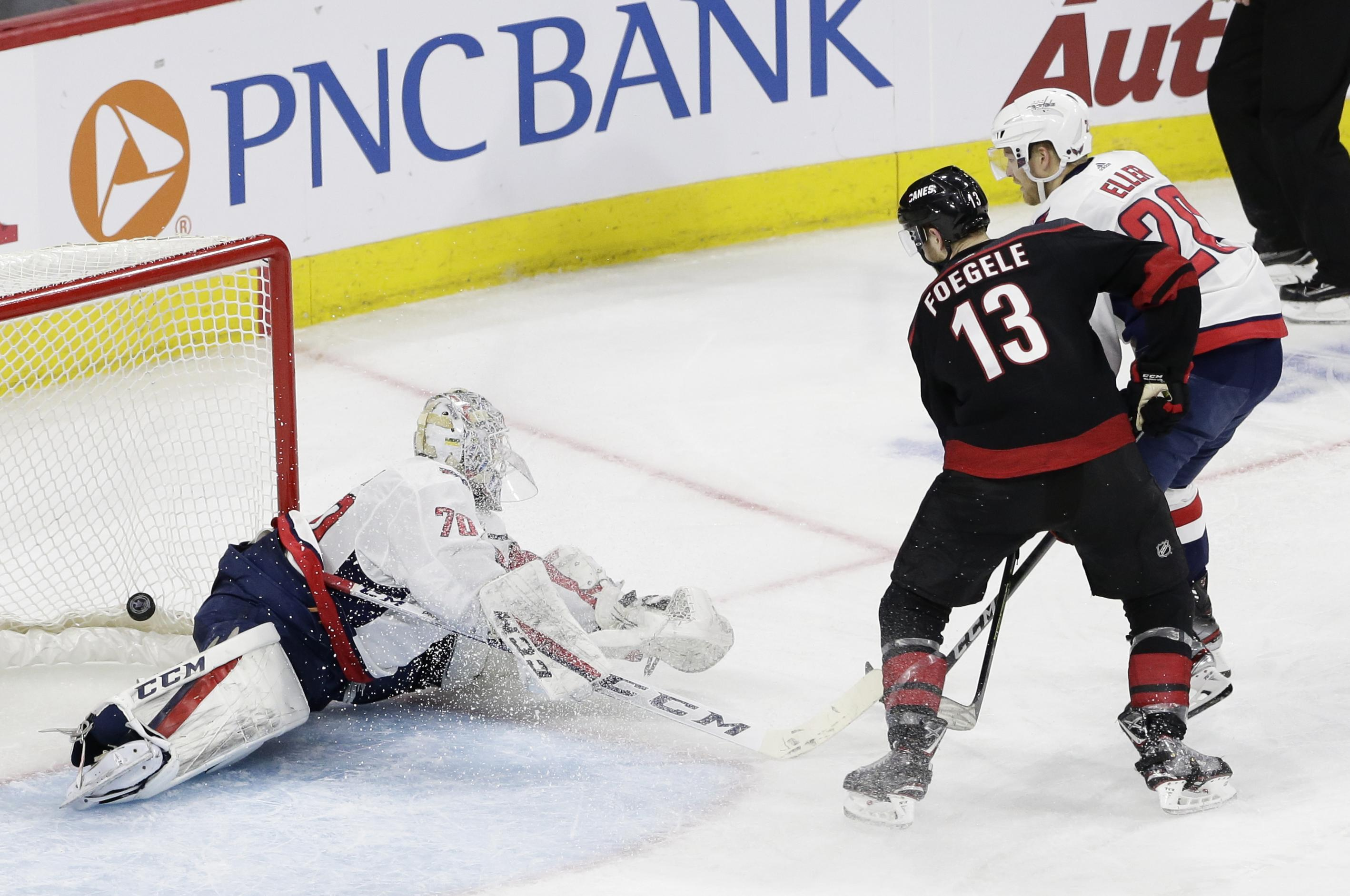 260b5844343 Carolina Hurricanes  Warren Foegele (13) scores against Washington Capitals  goalie Braden Holtby (
