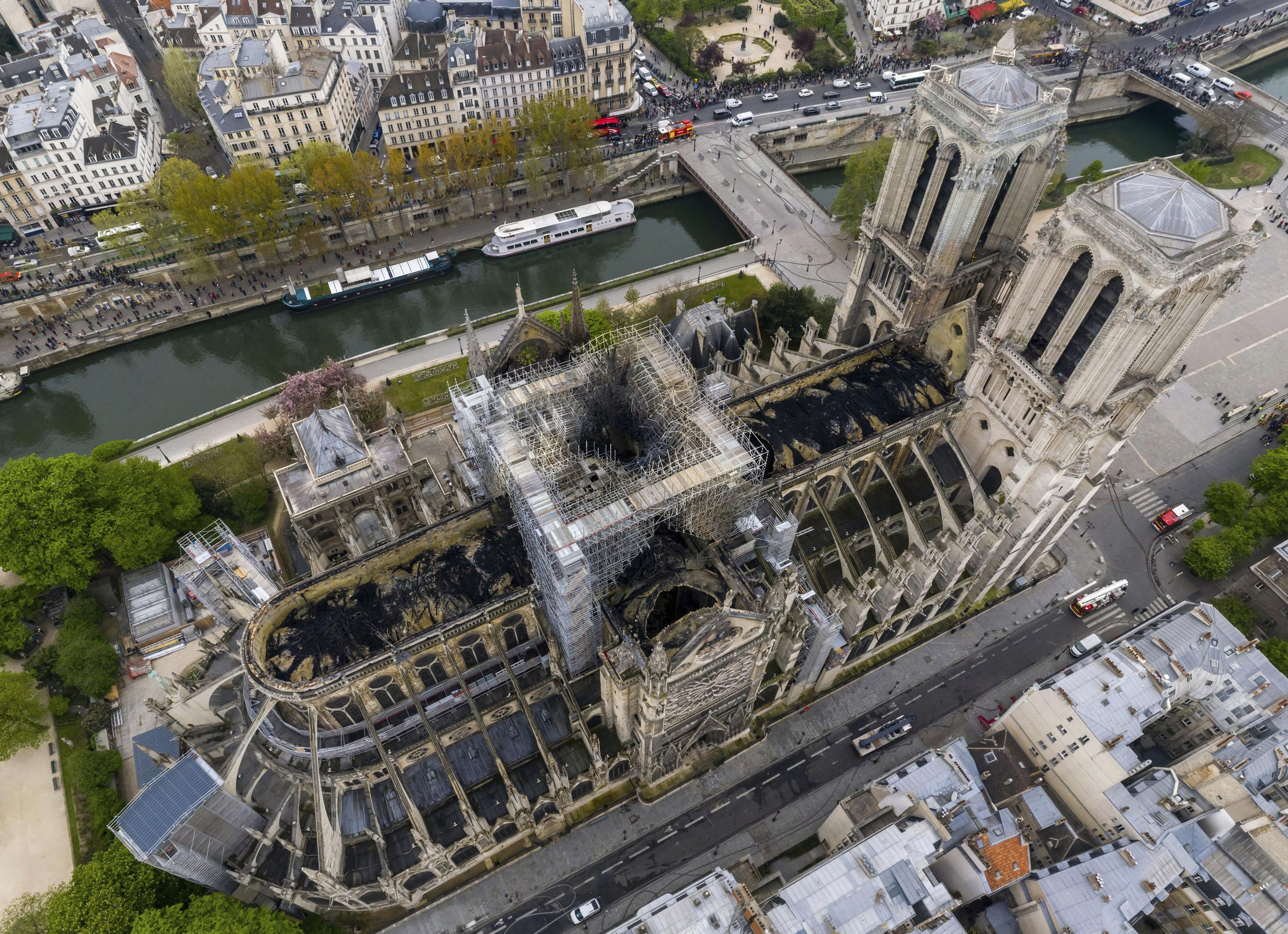 Aerial Photos Of Fire Damaged Notre Dame Cathedral The