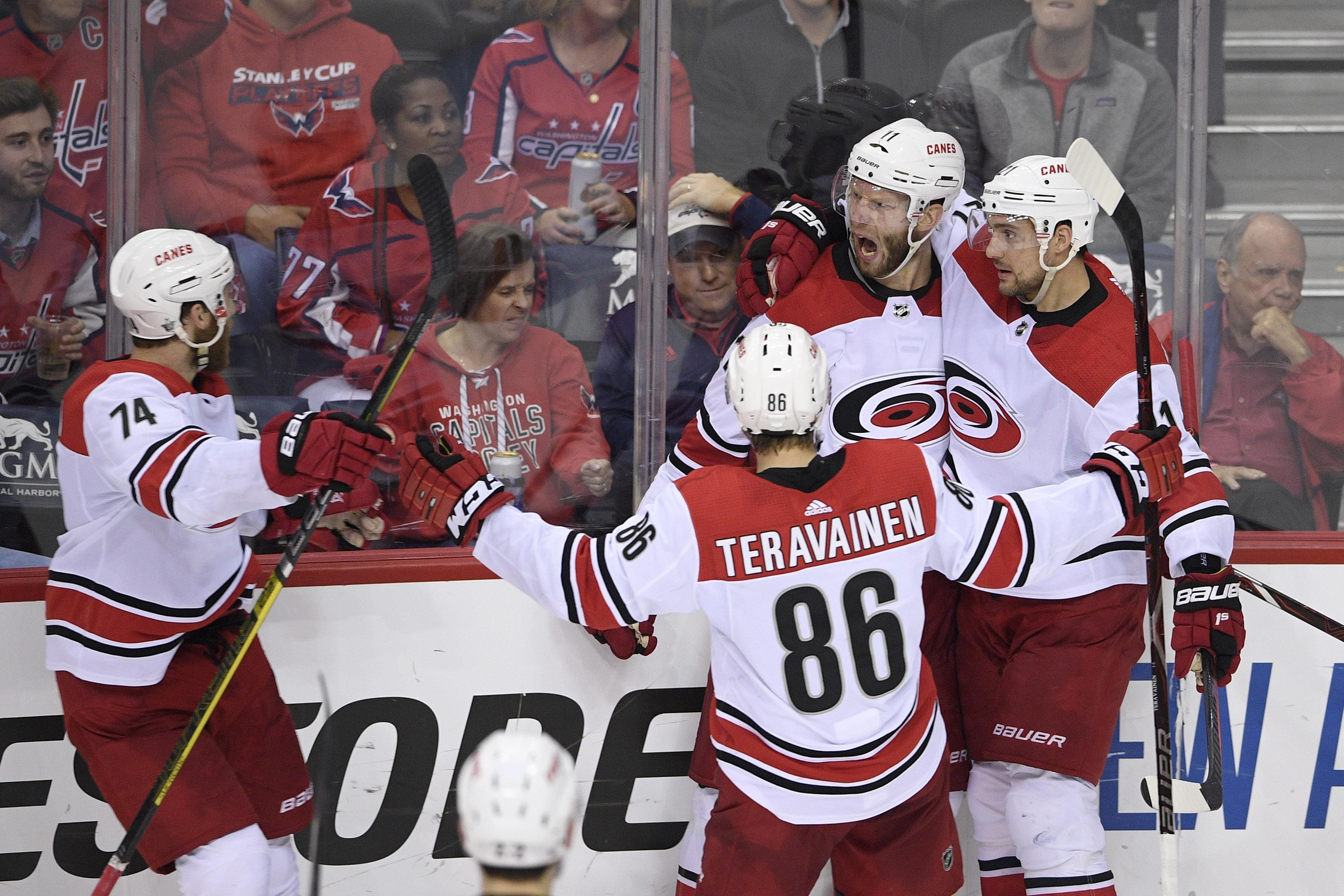 14927be3ea7 Carolina Hurricanes center Jordan Staal (11) celebrates his goal with right  wing Nino Niederreiter