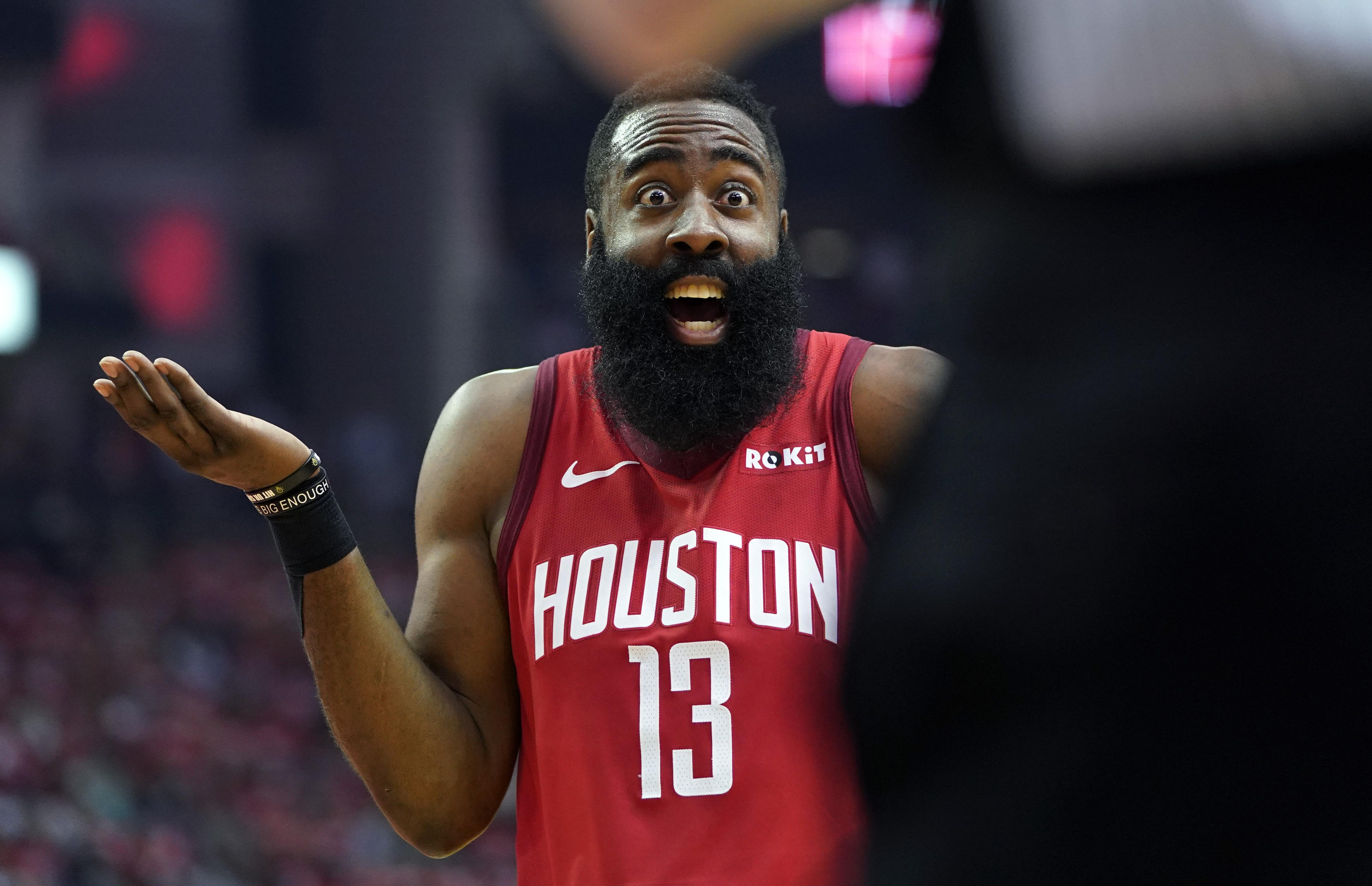 fd248a6e26c5 Houston Rockets guard James Harden (13) reacts to an official s call during  the first