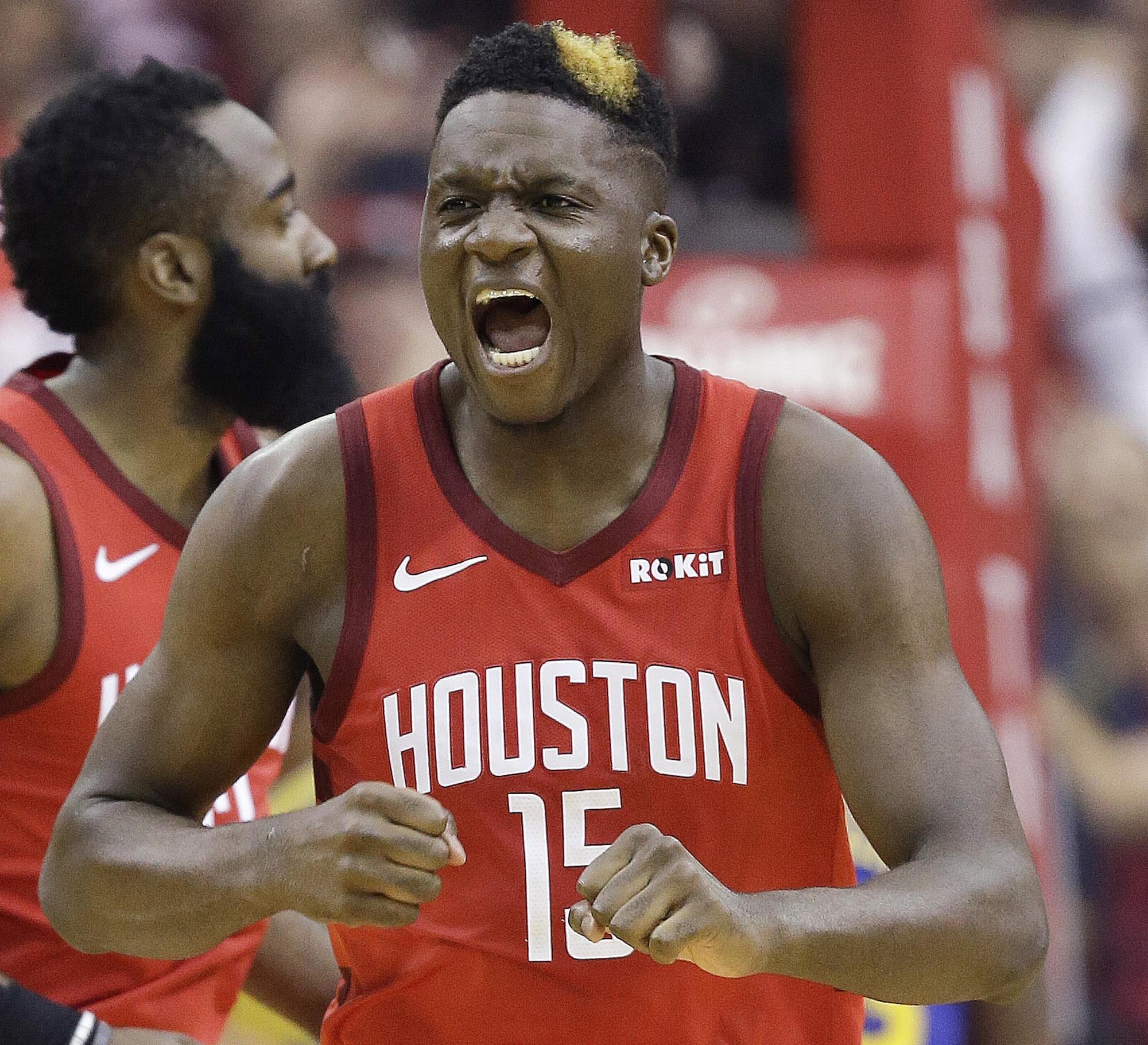 61d287883a31 Houston Rockets center Clint Capela reacts after making a basket during the first  half of Game