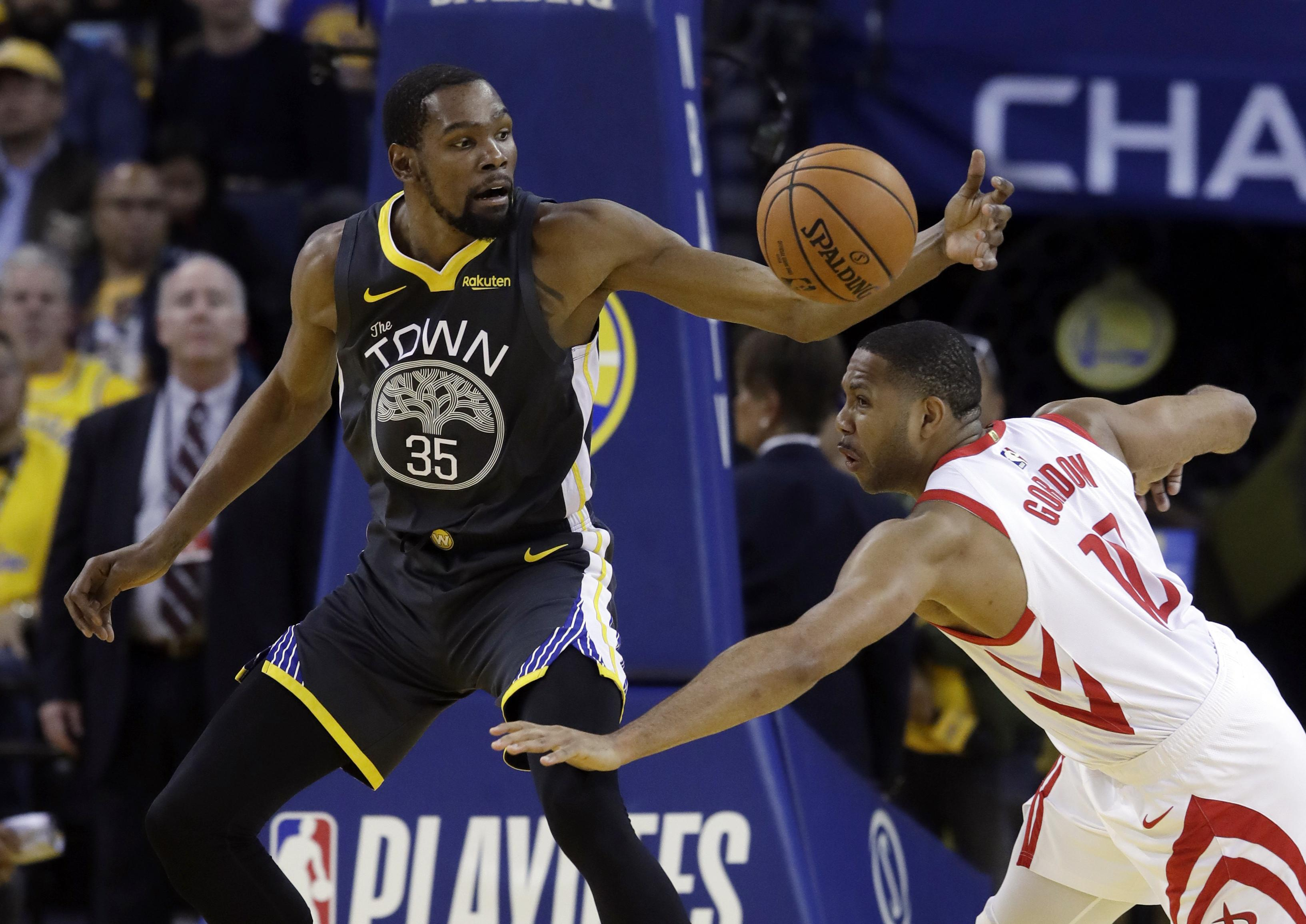 95fd658a674e Golden State Warriors  Kevin Durant (35) is defended by Houston Rockets   Eric