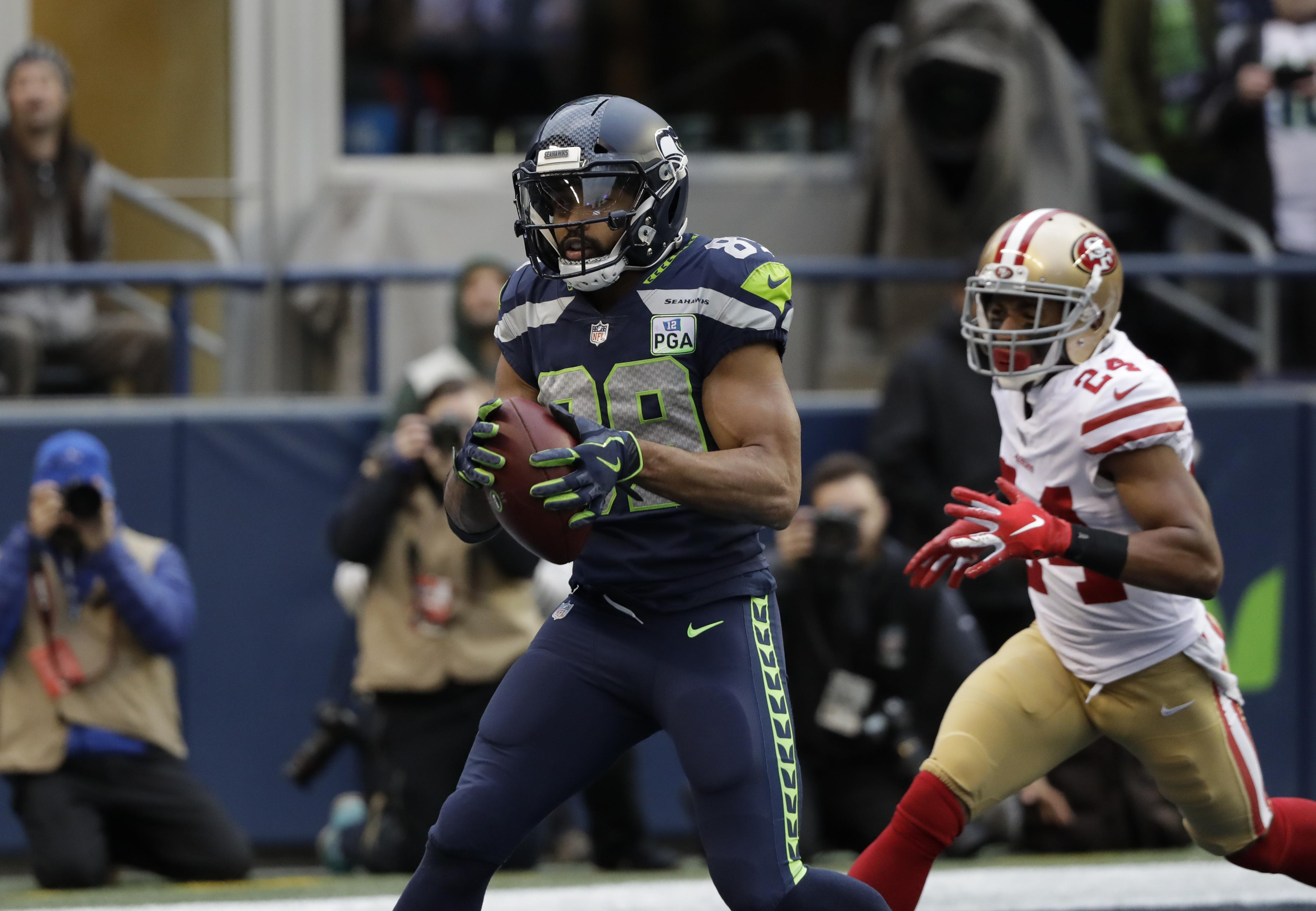 the latest 5ca4c f31e6 Seattle Seahawks wide receiver Doug Baldwin catches a touchdown pass ahead  of San Francisco 49ers defensive