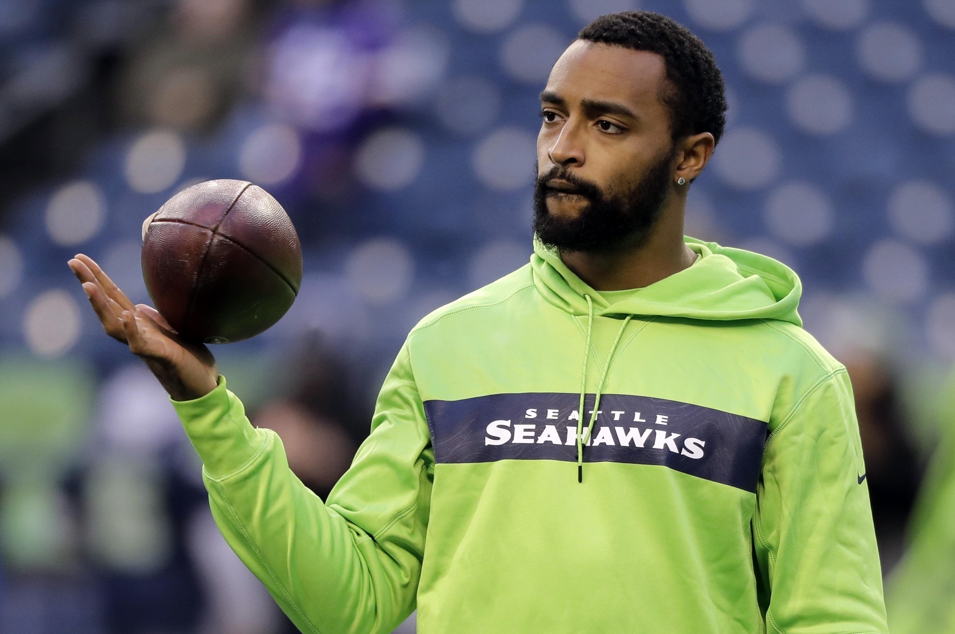72079cccc6b9 Seattle Seahawks  Doug Baldwin looks on during warm-up before an NFL  football game