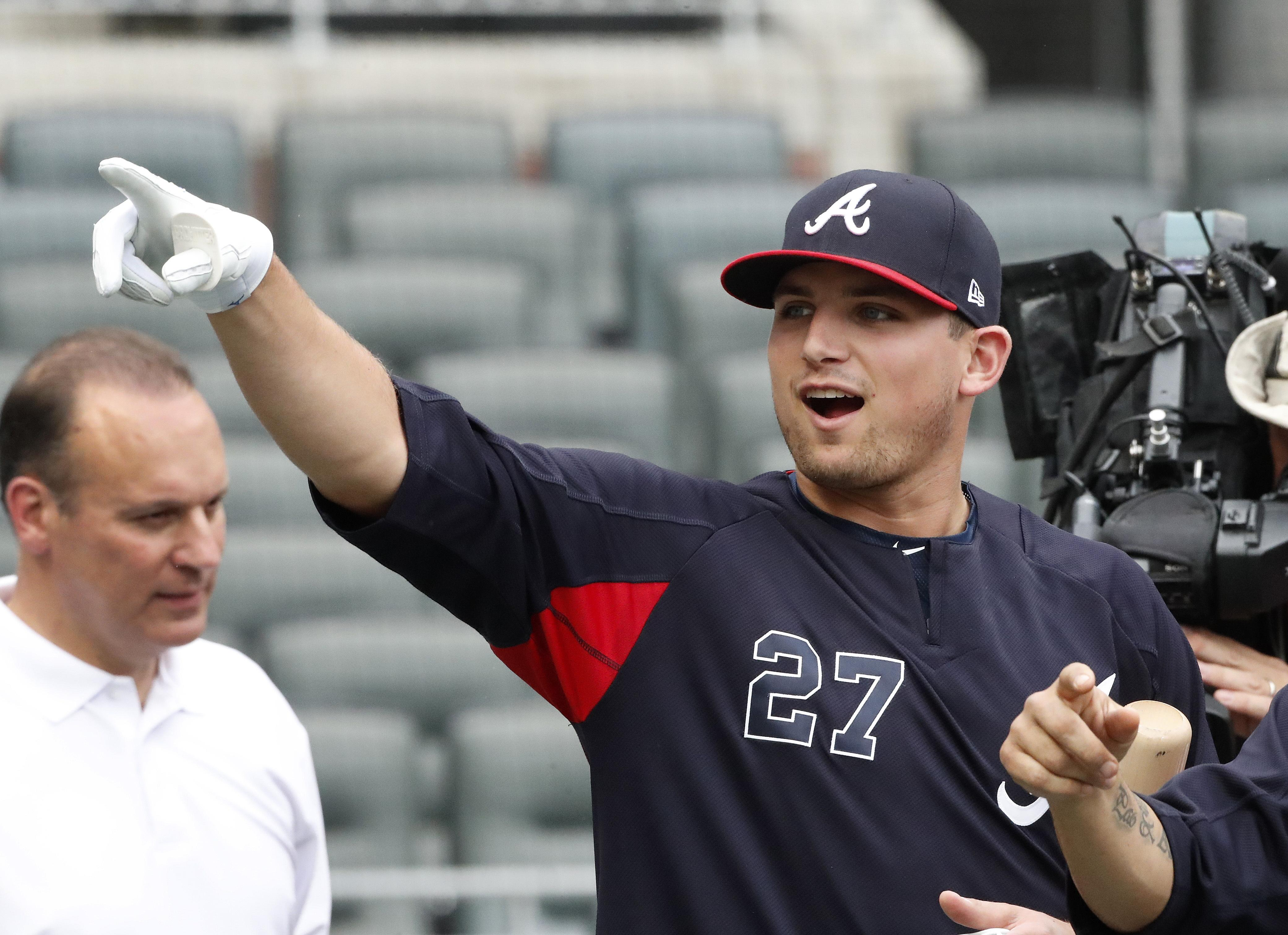 new style 373aa 0c698 Braves' Austin Riley homers in first big league game | SWX ...