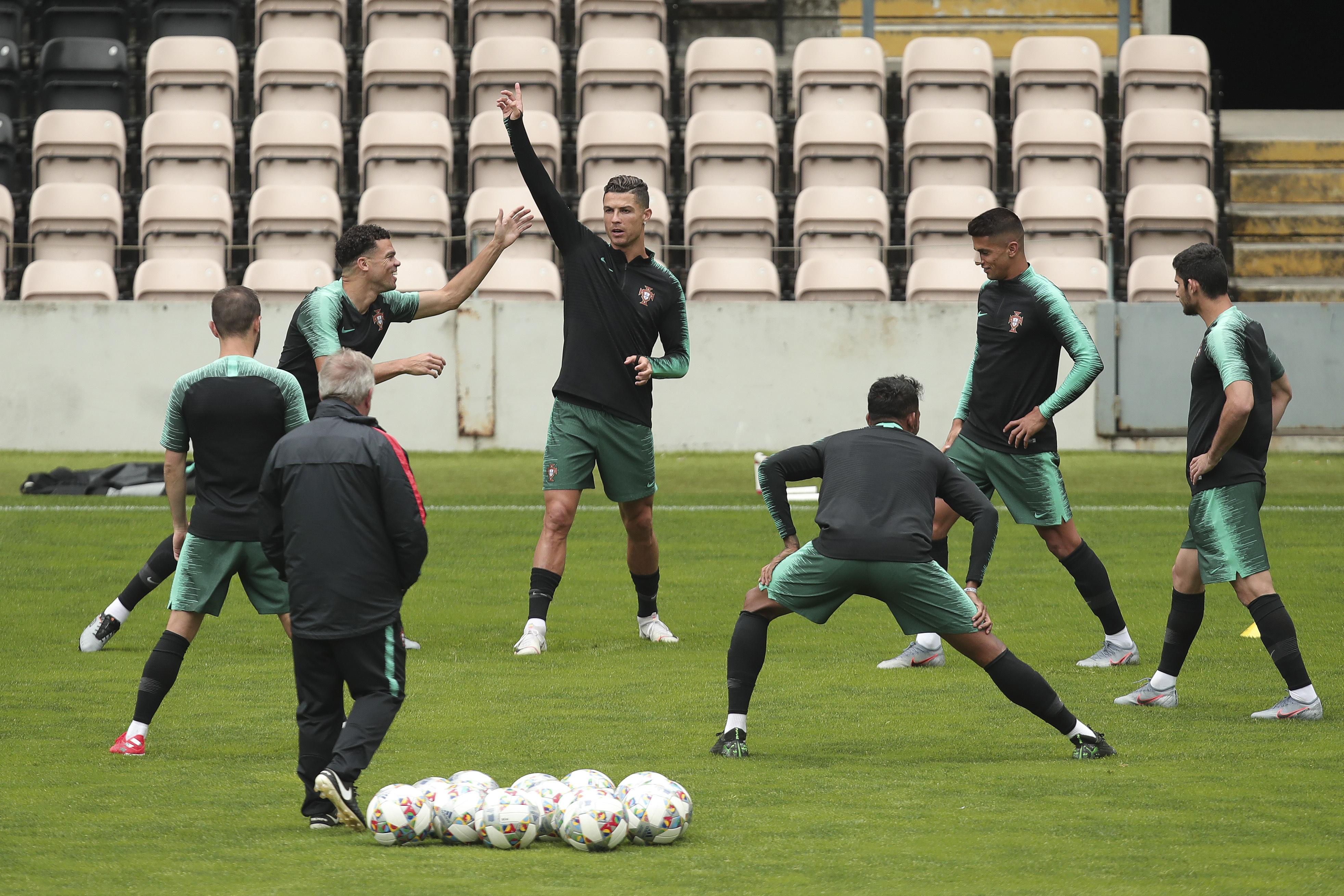Image result for ronaldo nations league portugal training 2019