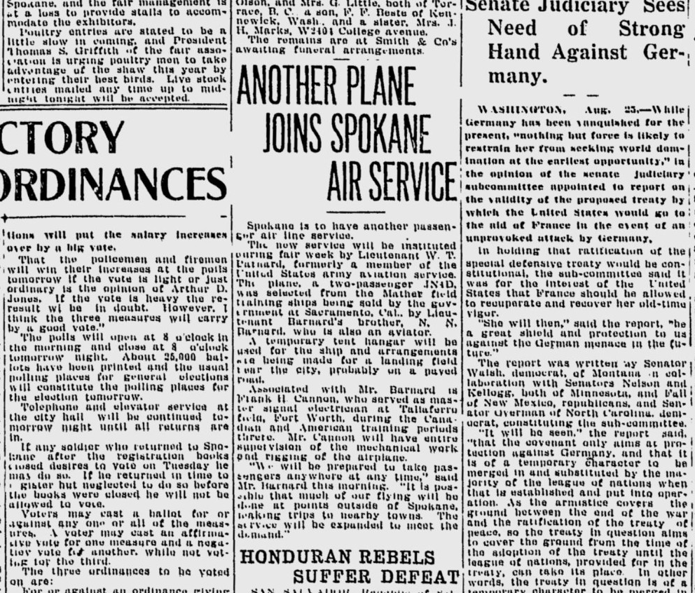 100 years ago in Spokane: Local airline industry gets boost