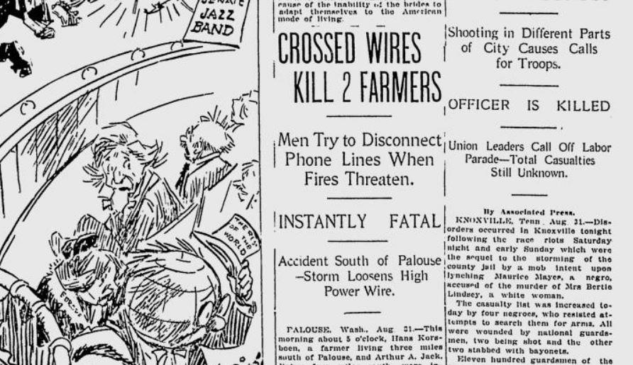100 years ago on the Palouse: 2 farmers electrocuted after