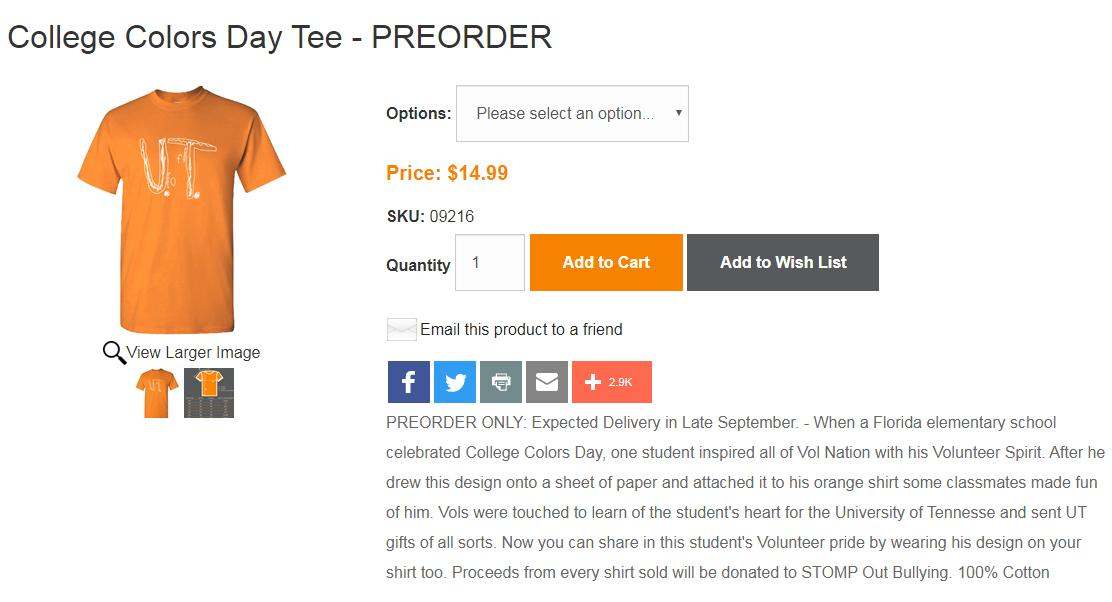 University of Tennessee offers full scholarship to boy bullied for homemade T-shirt