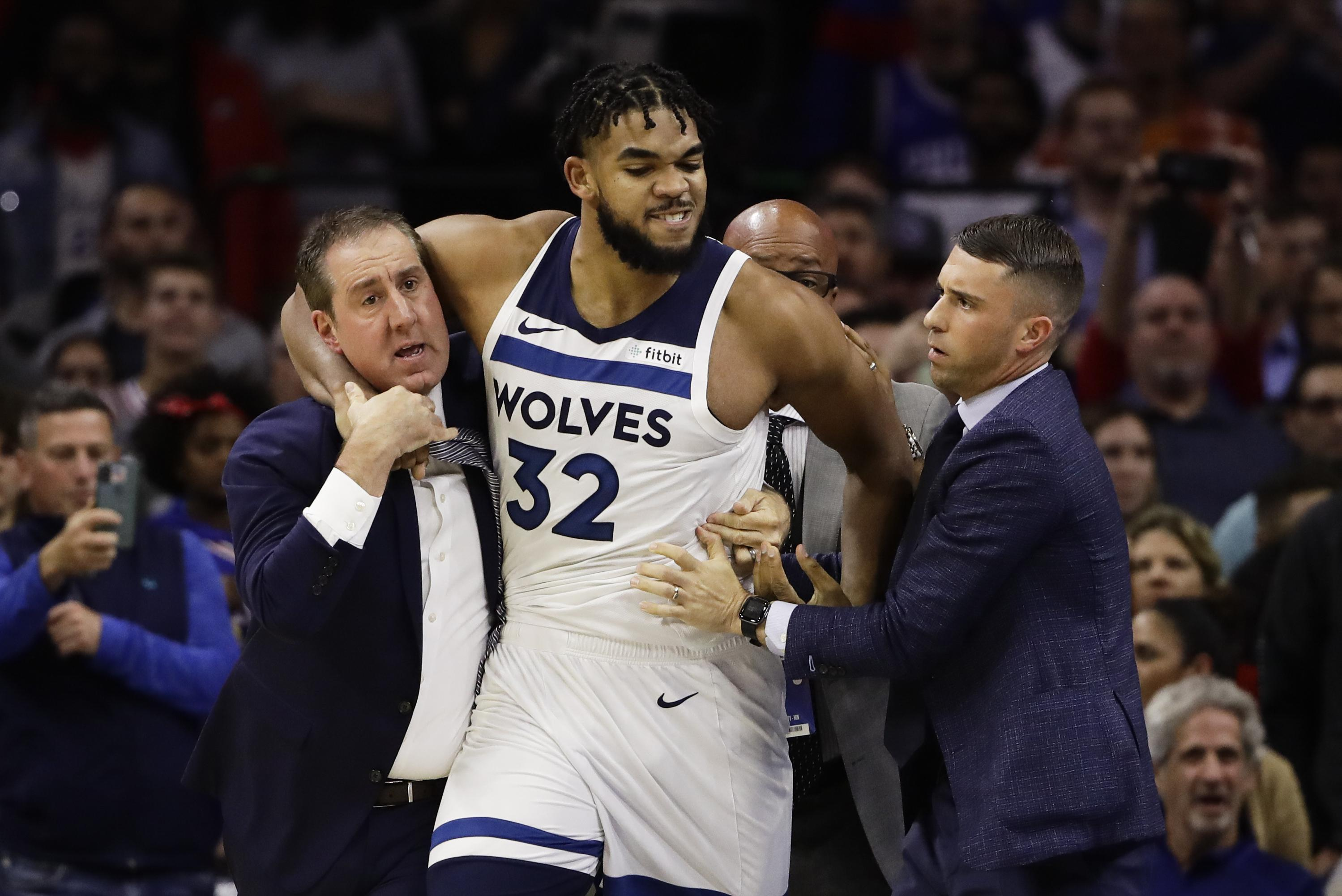 Joel Embiid Karl Anthony Towns Each Suspended 2 Games The